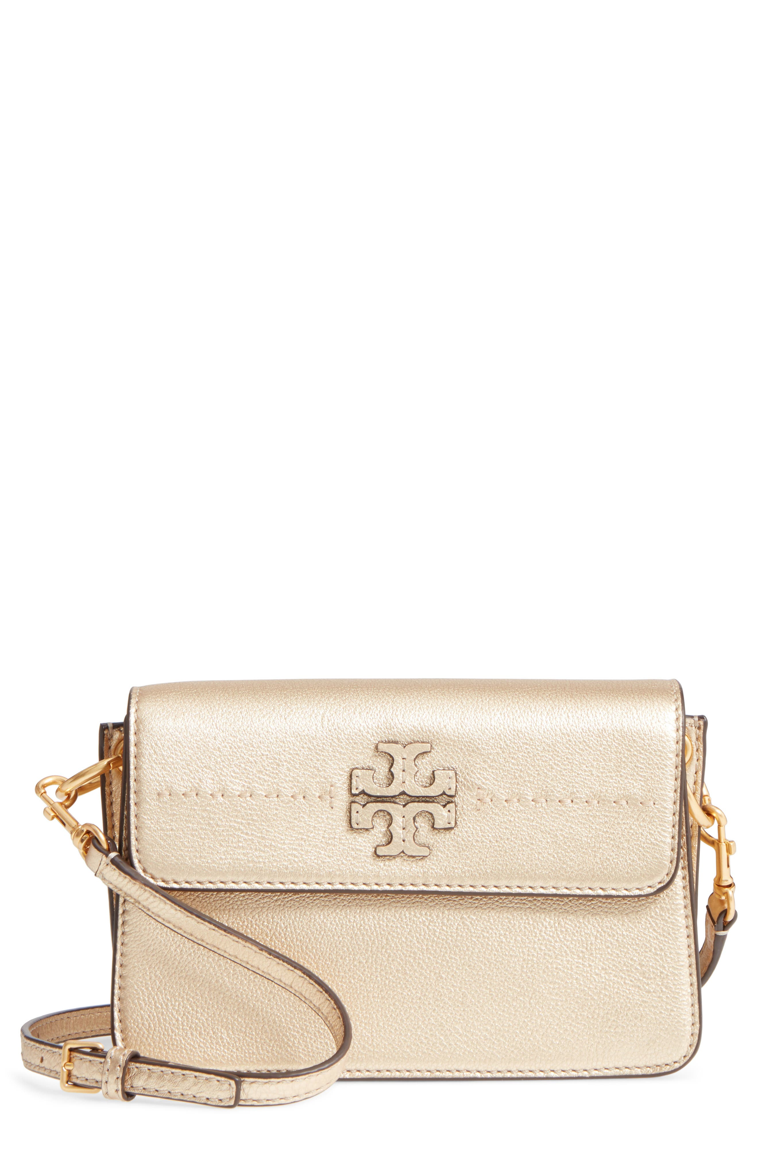 McGraw Metallic Leather Shoulder Bag,                             Main thumbnail 1, color,                             Gold