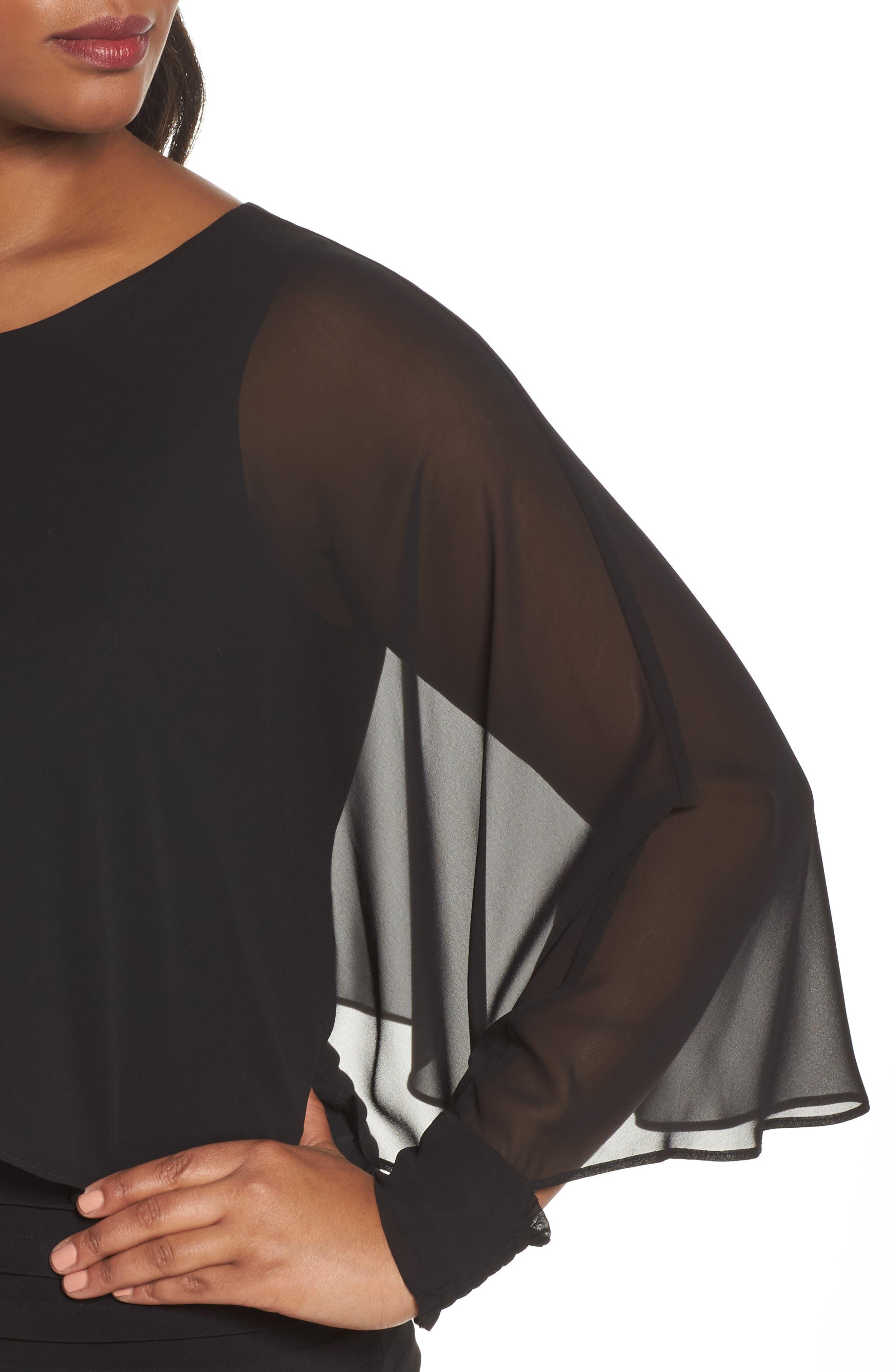 Matte Jersey Shutter Pleat Dress,                             Alternate thumbnail 4, color,                             Black