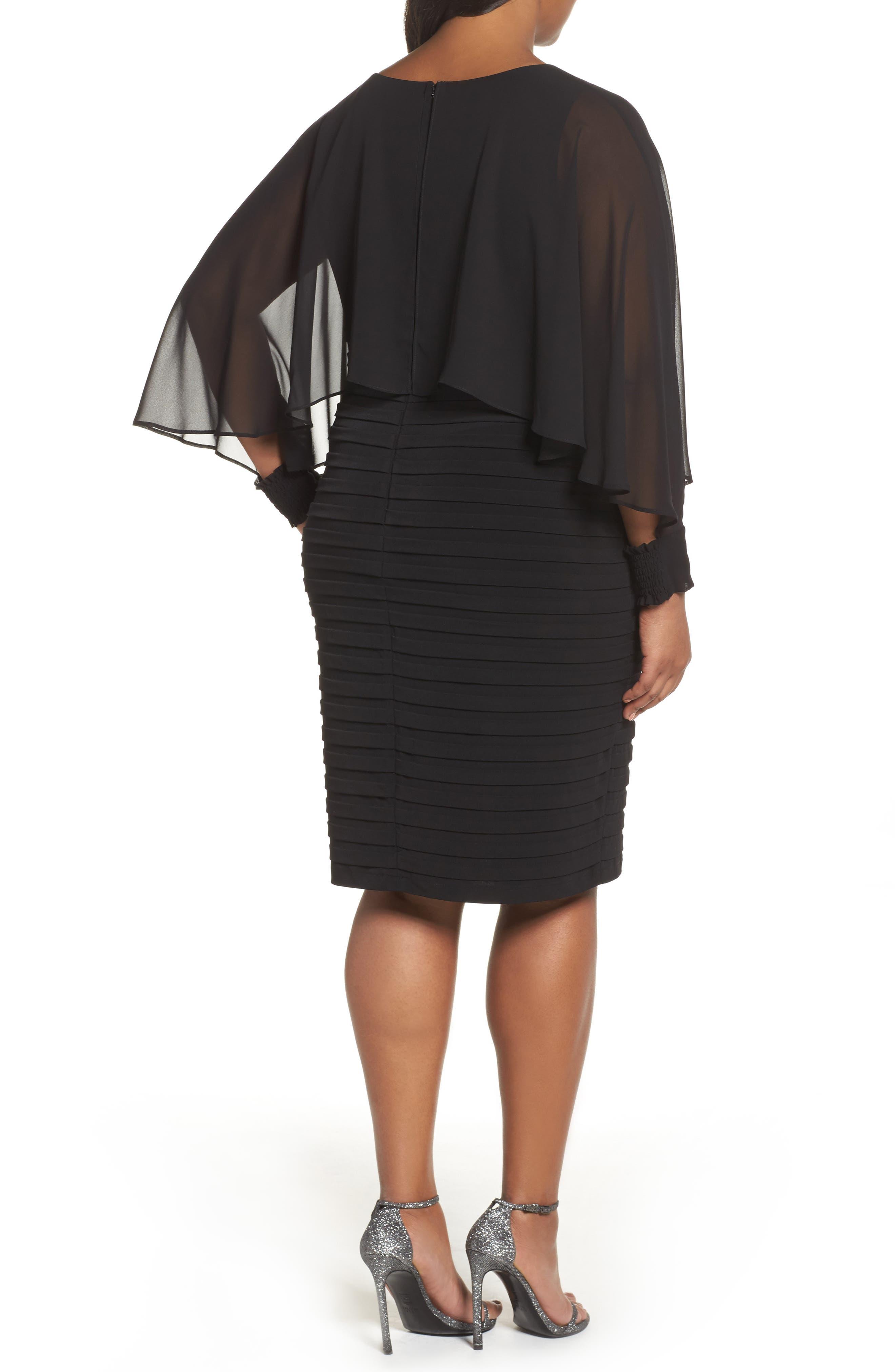Matte Jersey Shutter Pleat Dress,                             Alternate thumbnail 2, color,                             Black