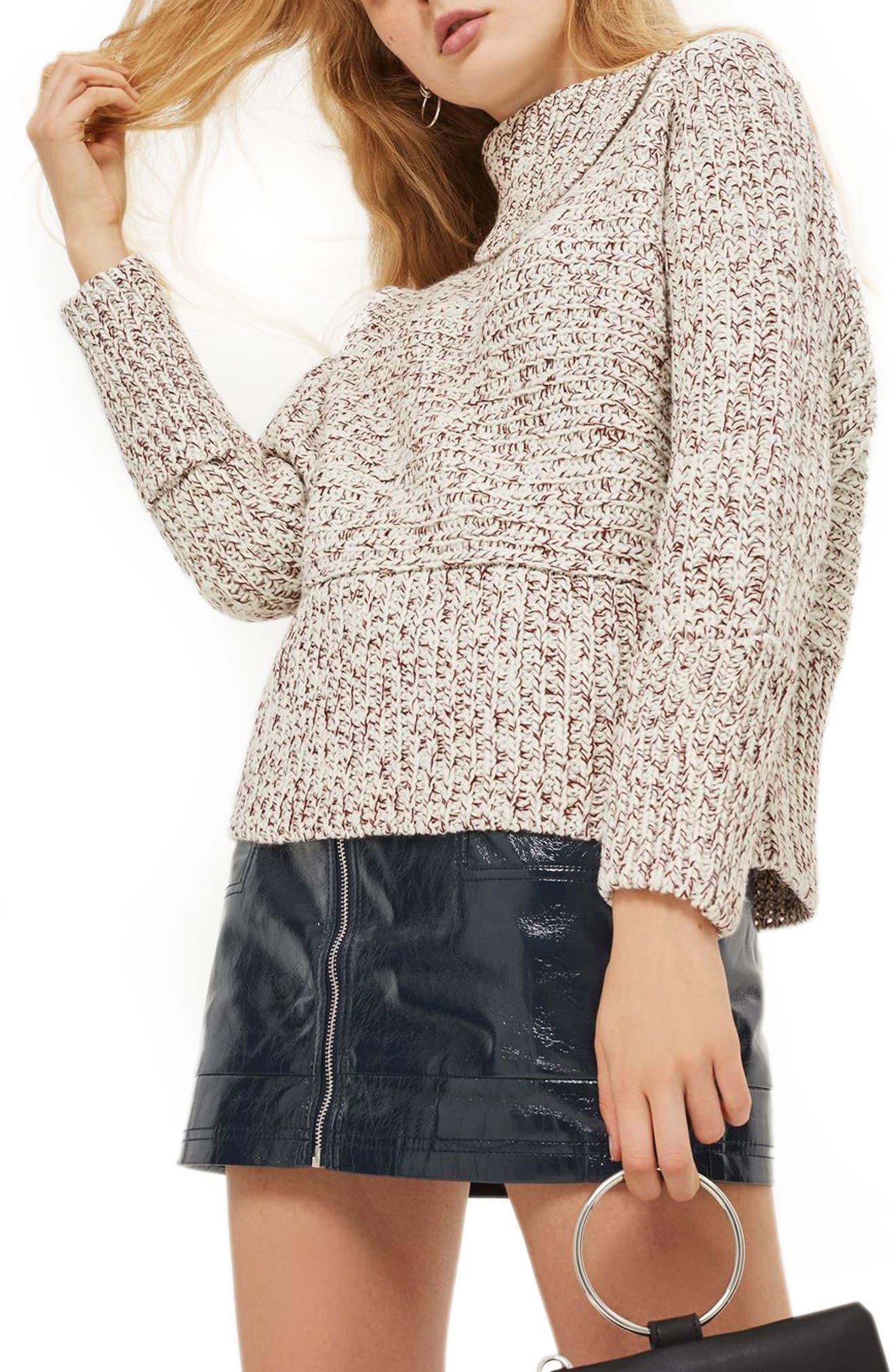 Main Image - Topshop Tweedy Envelope Neck Sweater