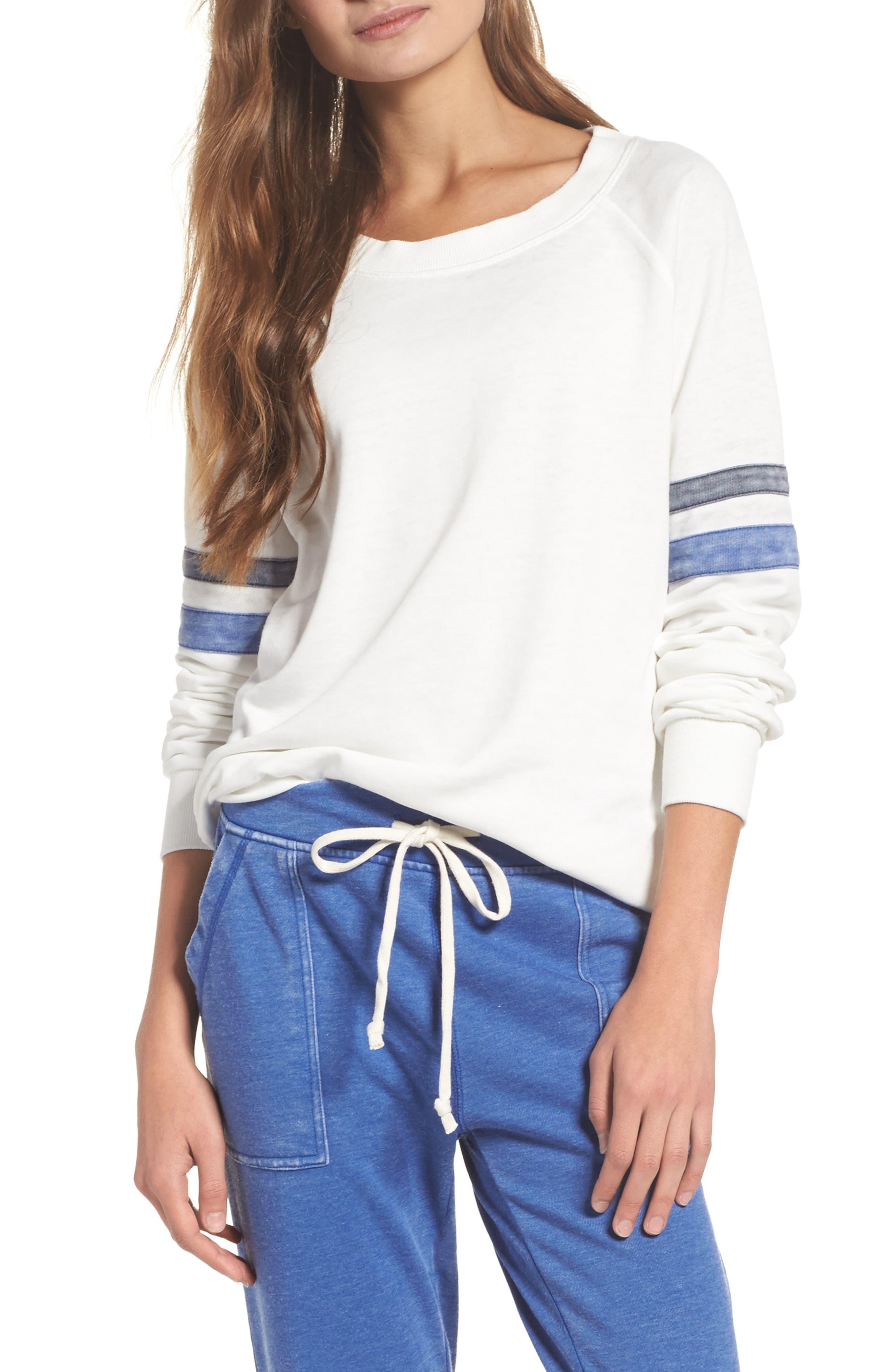 Lazy Day Sweatshirt,                         Main,                         color, Ivory/ Dark Navy/ Pacific Blue