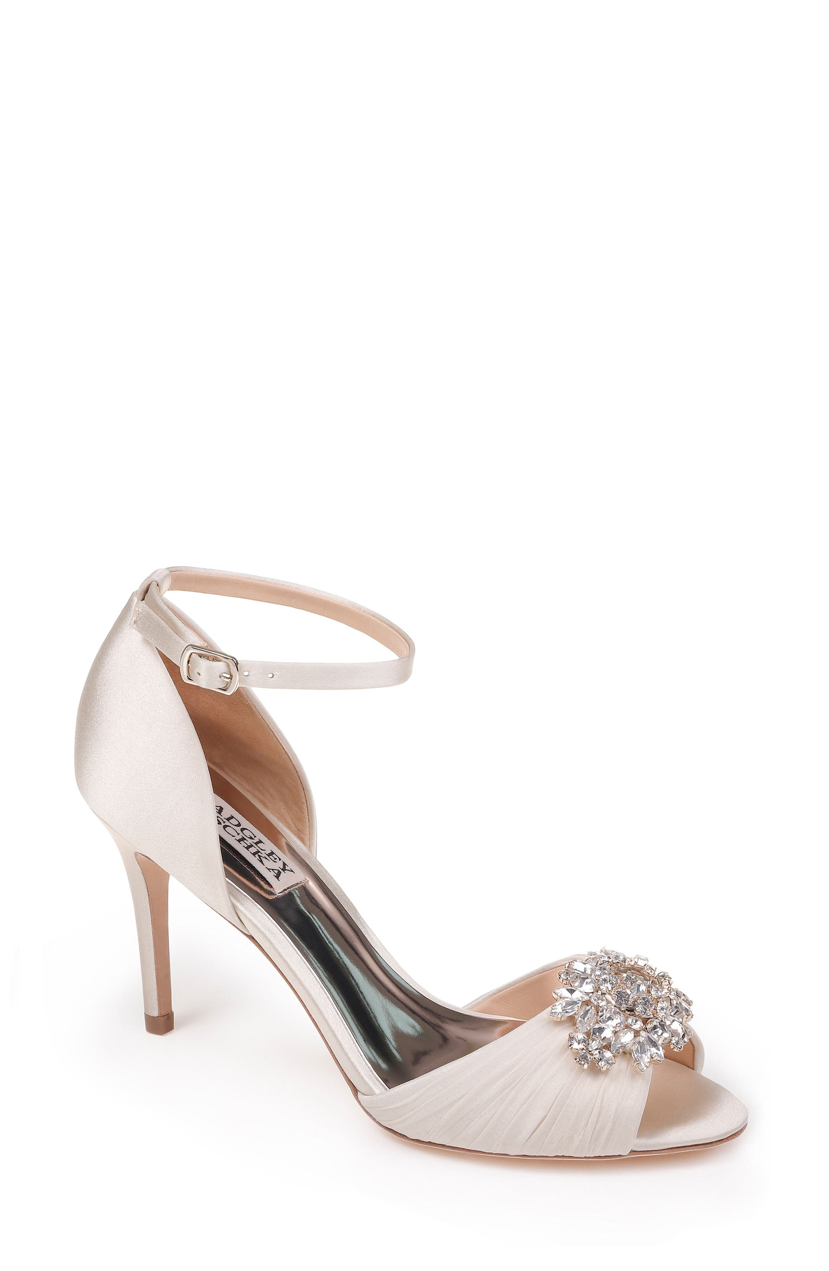 Sabrina Ankle Strap Sandal,                         Main,                         color, Ivory Satin
