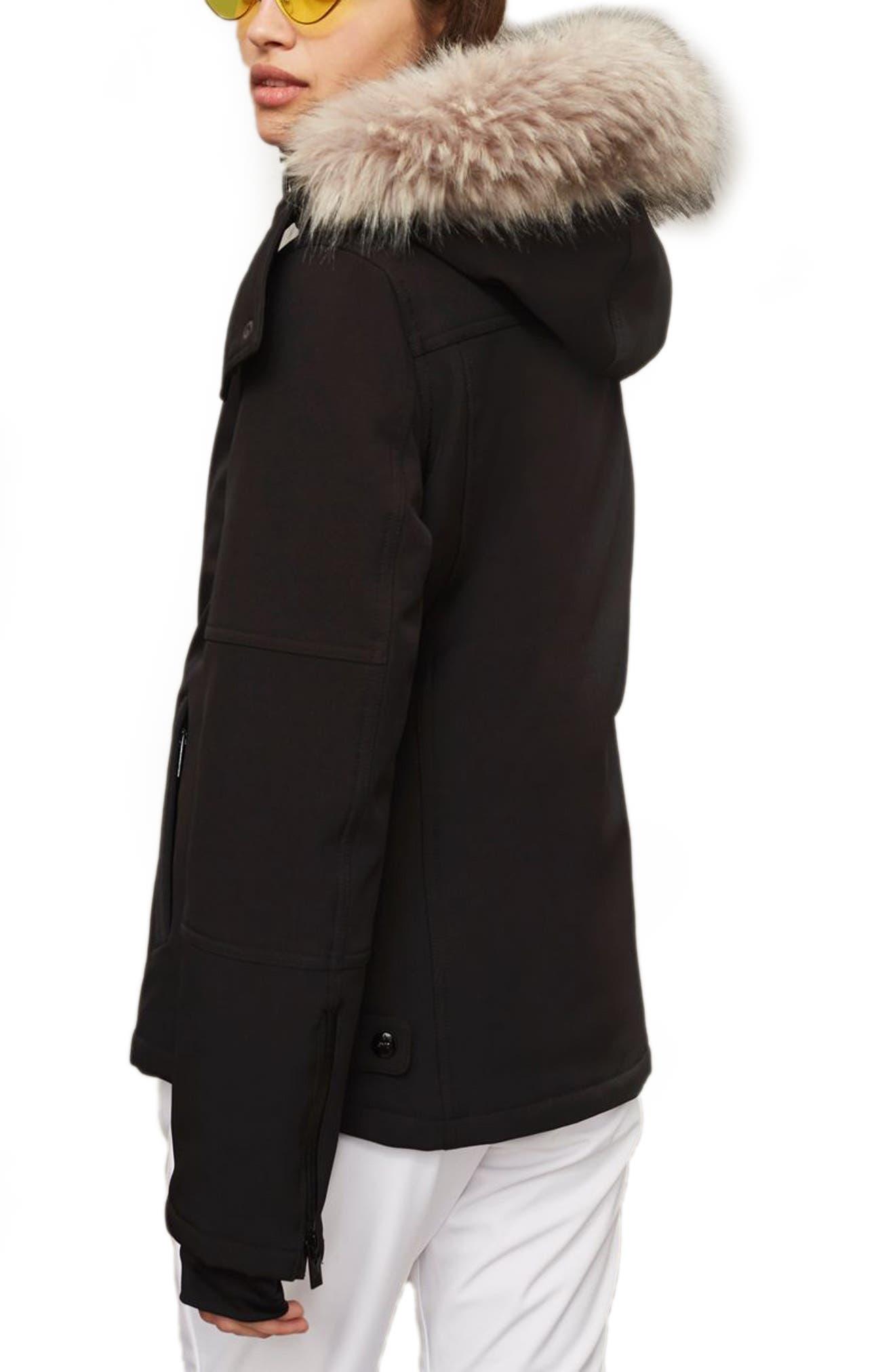 SNO Gladiator Faux Fur Hood Puffer Jacket,                             Alternate thumbnail 4, color,                             Black