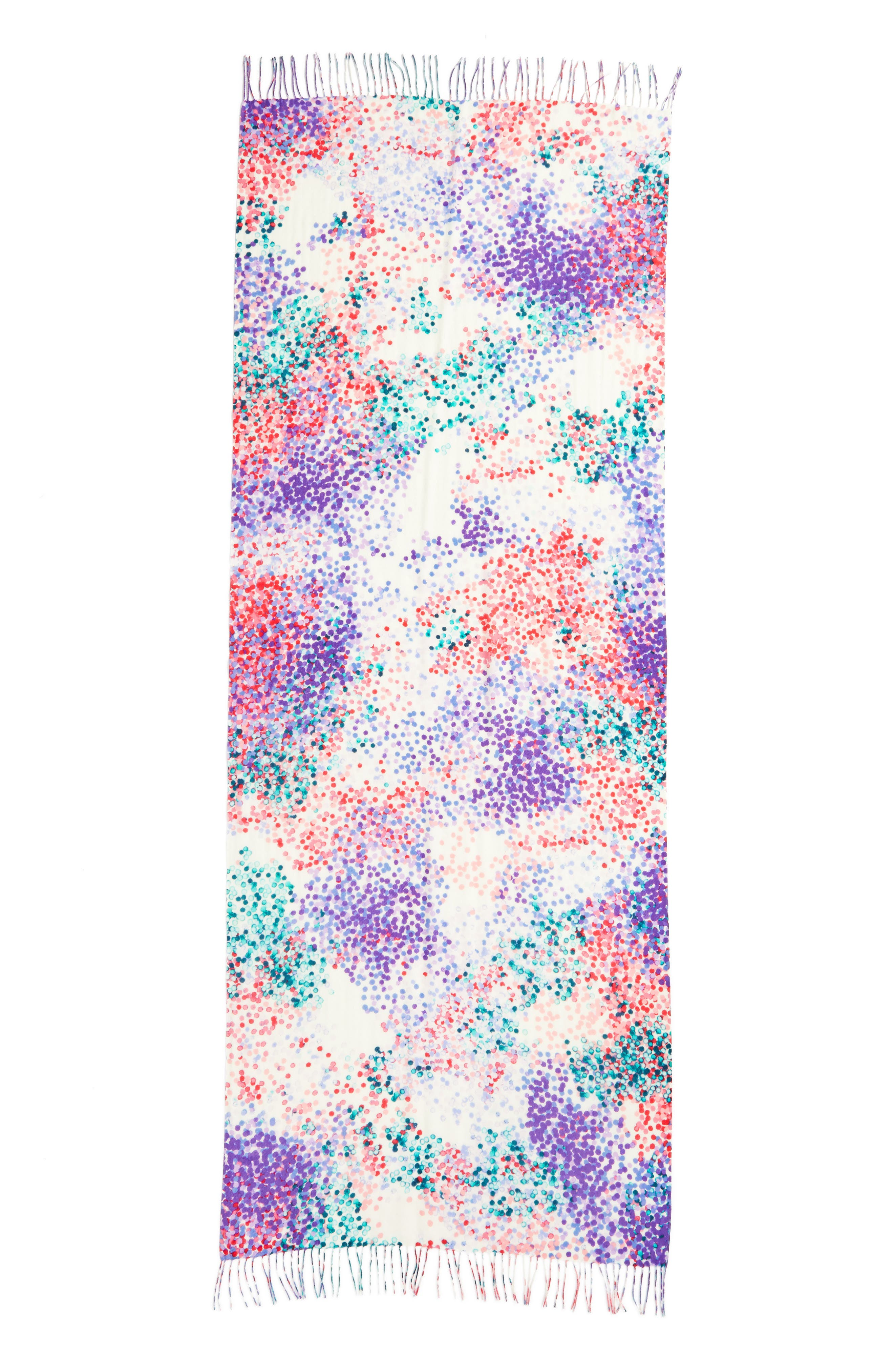 Tissue Print Wool & Cashmere Wrap Scarf,                             Alternate thumbnail 3, color,                             Pink Beautiful Dots