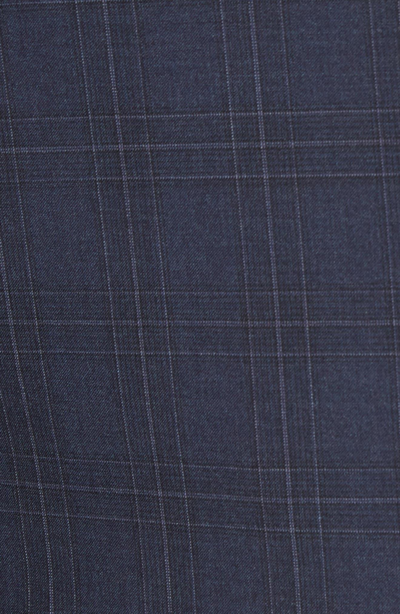 G Line Trim Fit Plaid Wool Suit,                             Alternate thumbnail 7, color,                             Navy