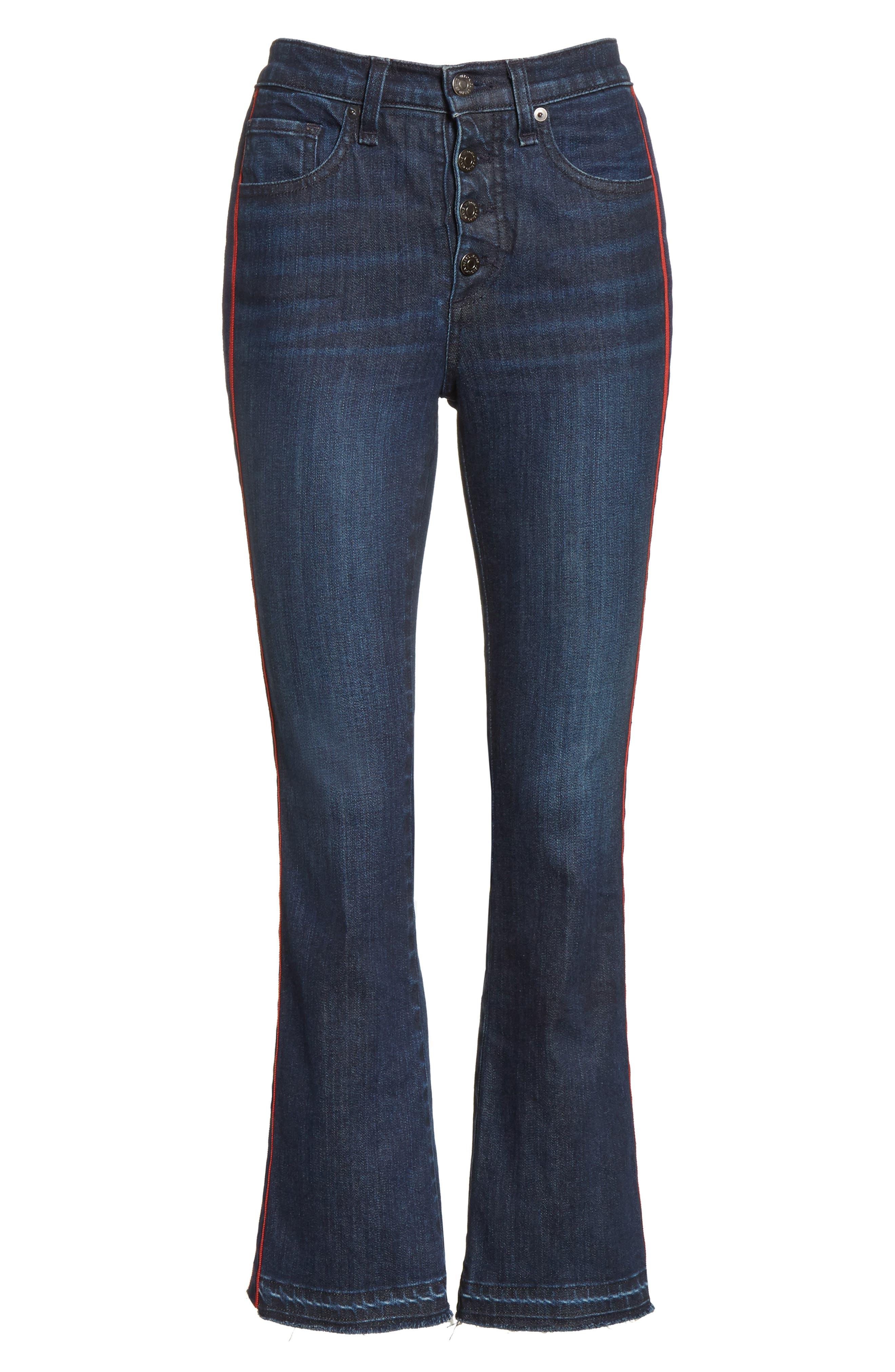 Alternate Image 6  - Veronica Beard Carolyn Tuxedo Stripe Baby Boot Crop Jeans