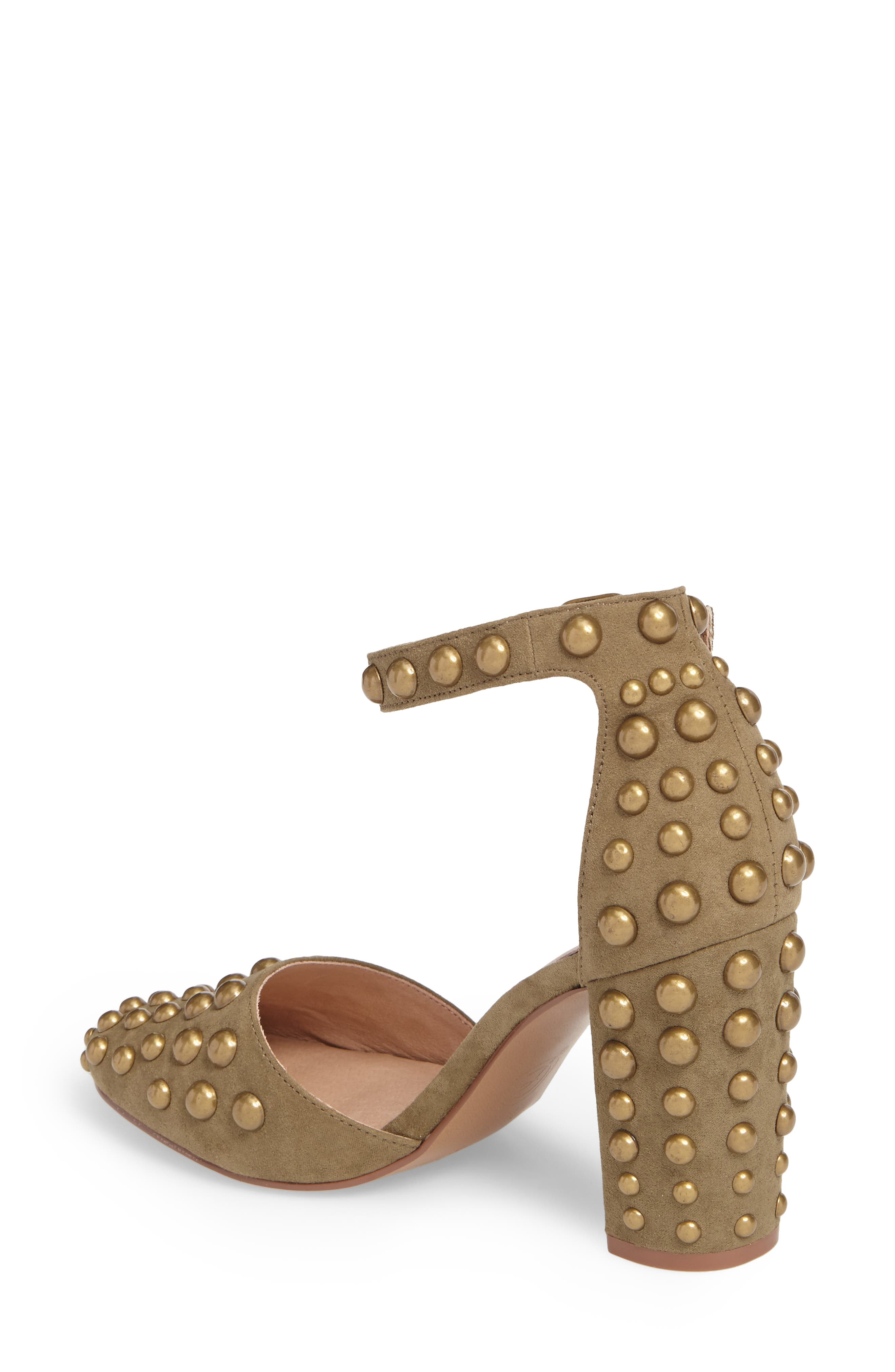 Vegas Studded Pump,                             Alternate thumbnail 2, color,                             Olive Suede