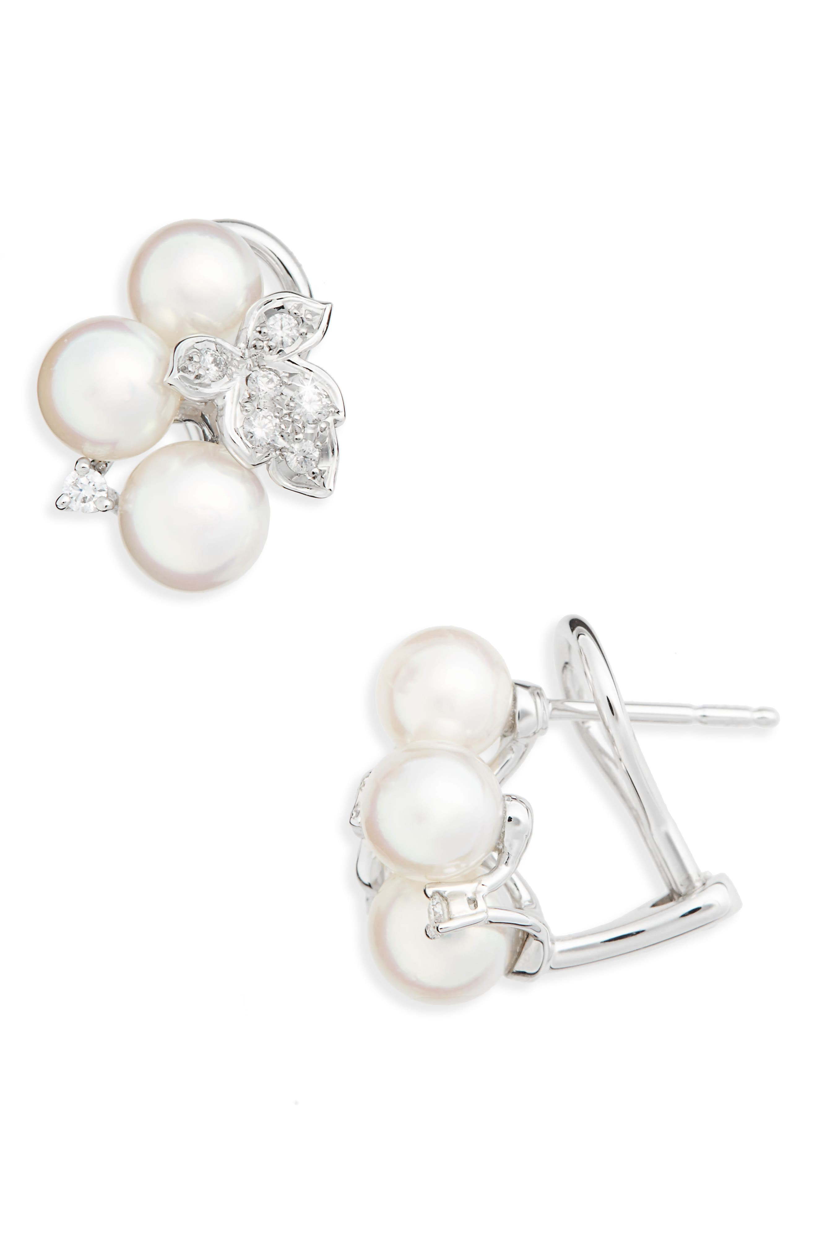 Pearl & Diamond Cluster Earrings,                         Main,                         color, White Gold
