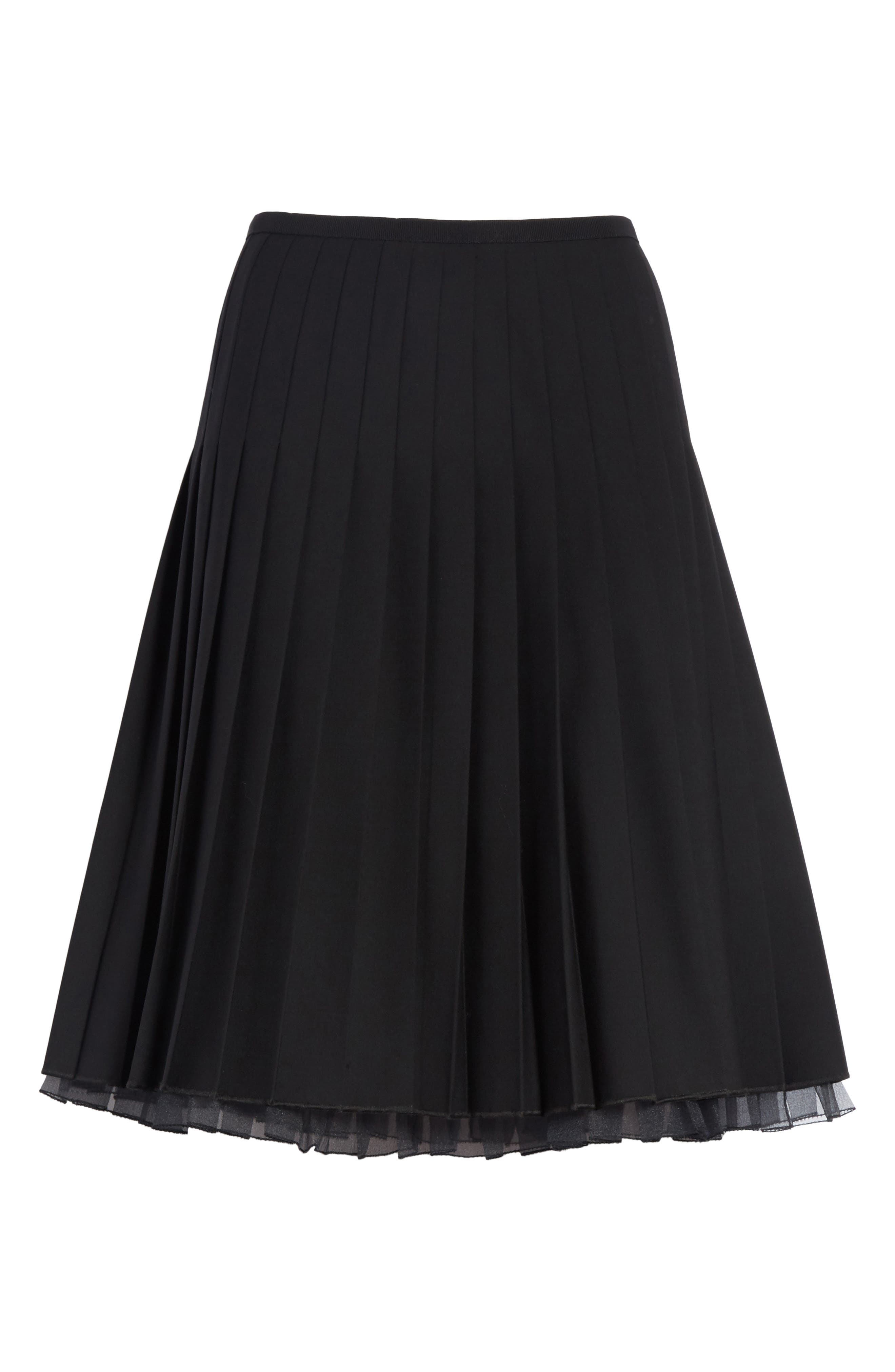Pleated Stretch Wool Skirt,                             Alternate thumbnail 6, color,                             Black