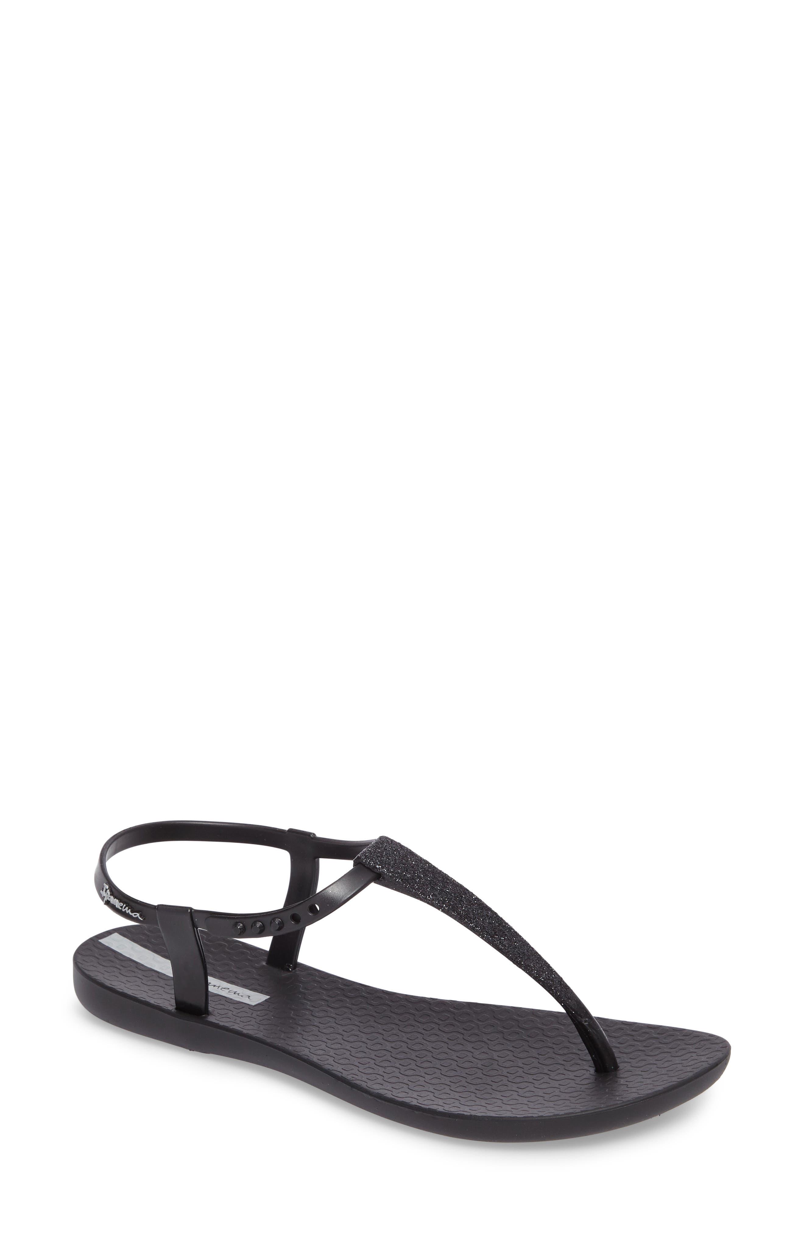 Shimmer Sandal,                             Main thumbnail 1, color,                             Black/ Black