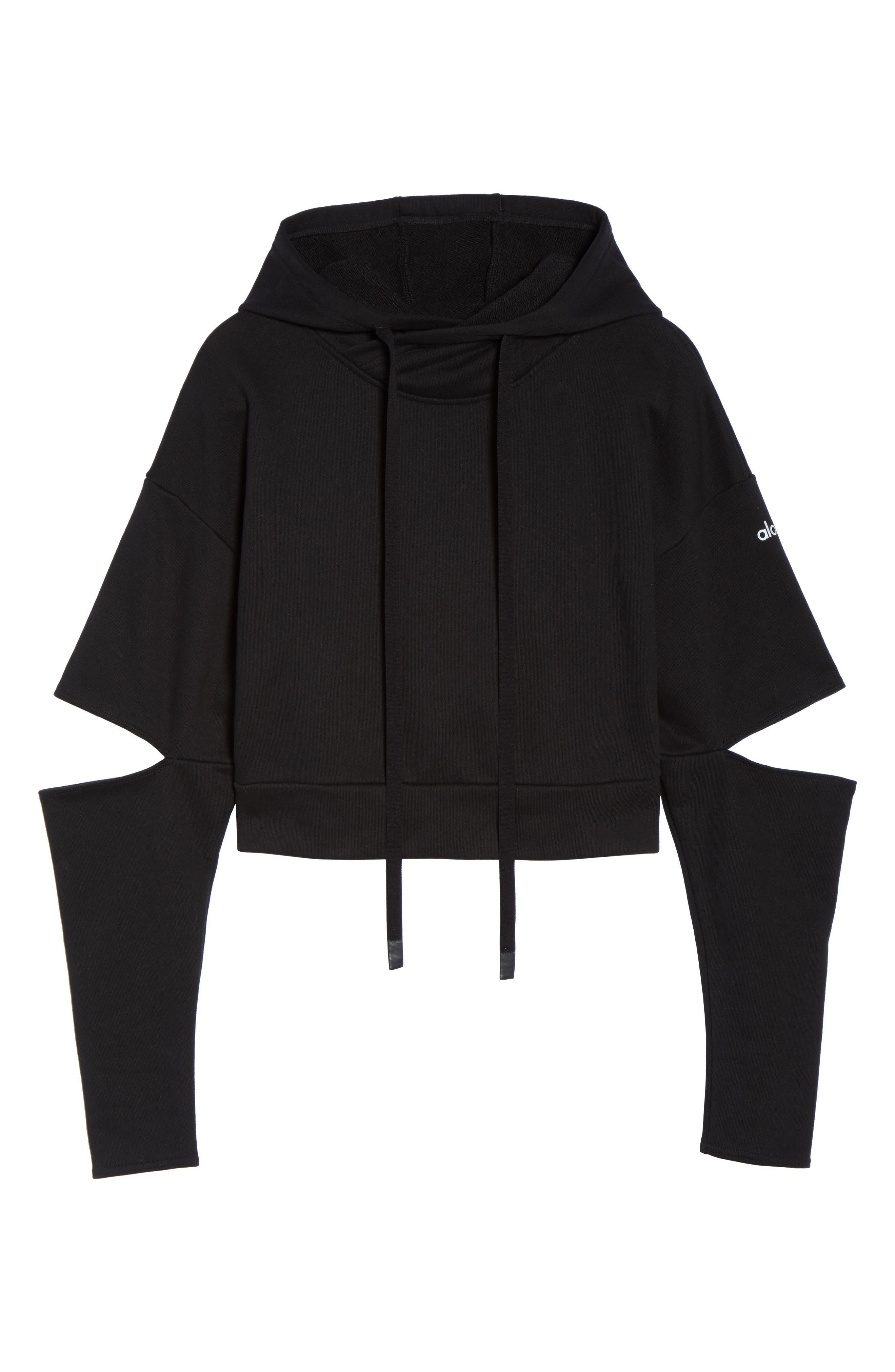 Peak Cutout Long Sleeve Pullover Crop Hoodie,                             Alternate thumbnail 3, color,                             Black