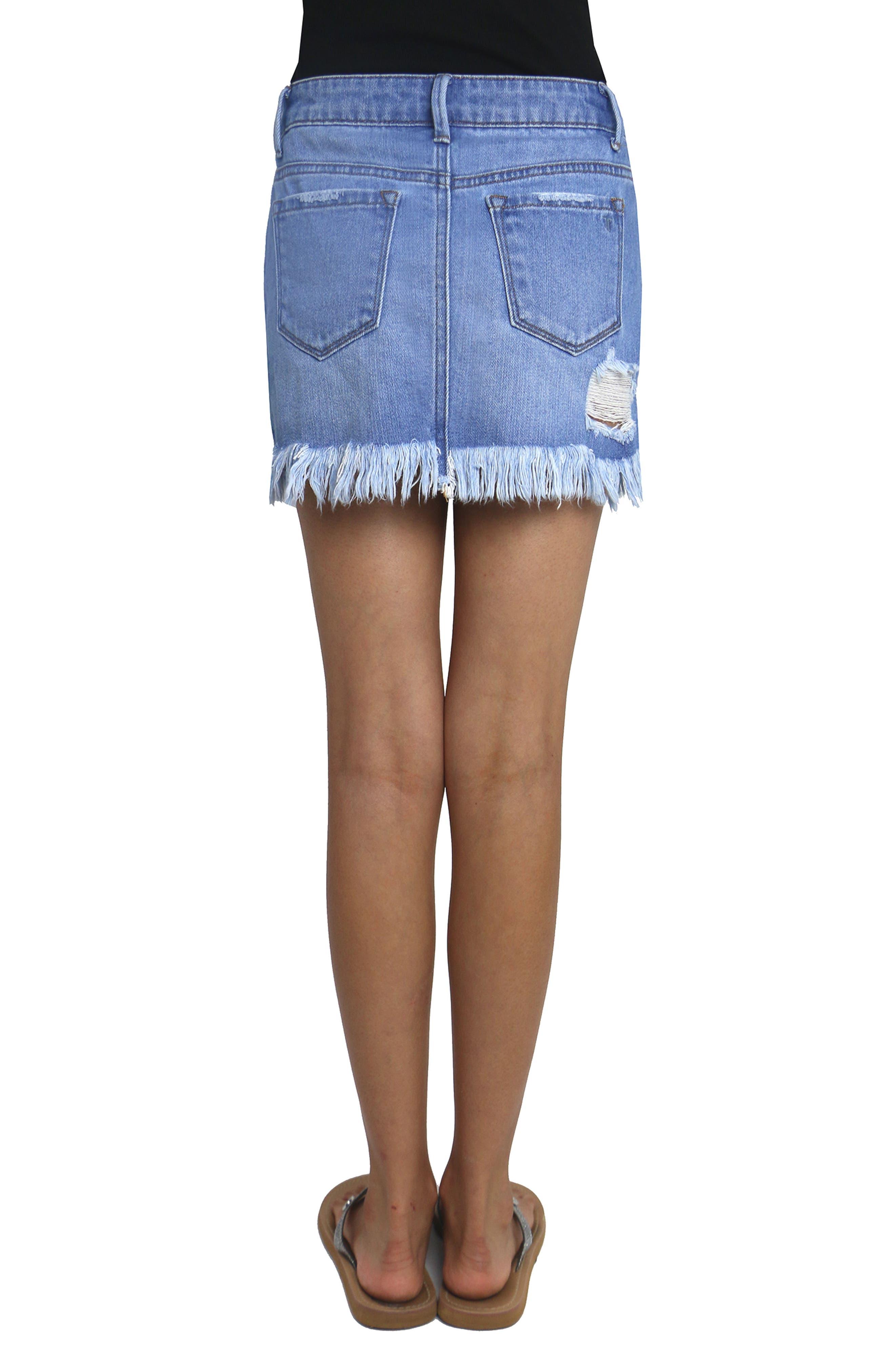Alternate Image 3  - Tractr Distressed Denim Skirt (Big Girls)