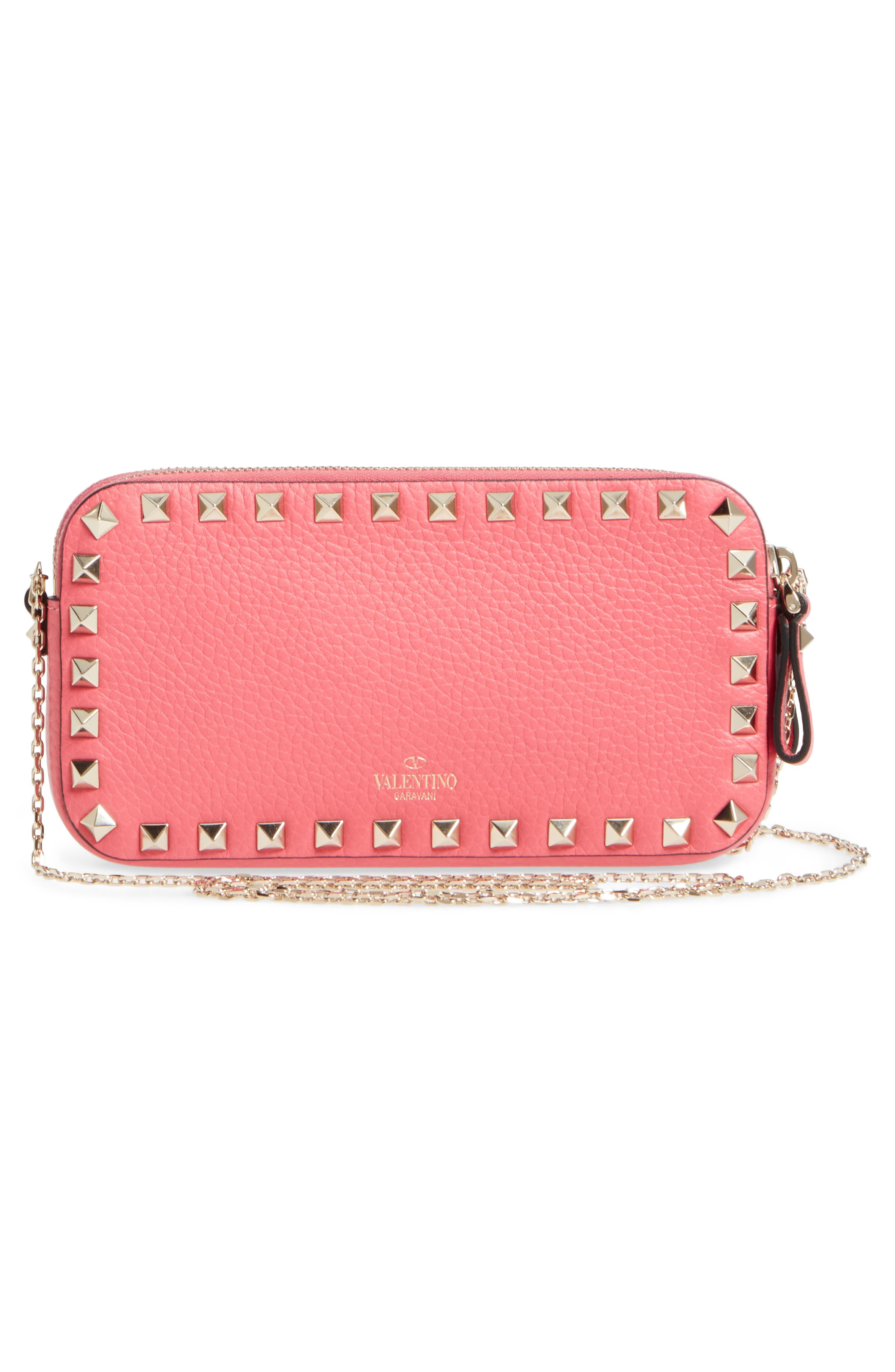 Rockstud Leather Pouch,                             Alternate thumbnail 3, color,                             Shadow Pink