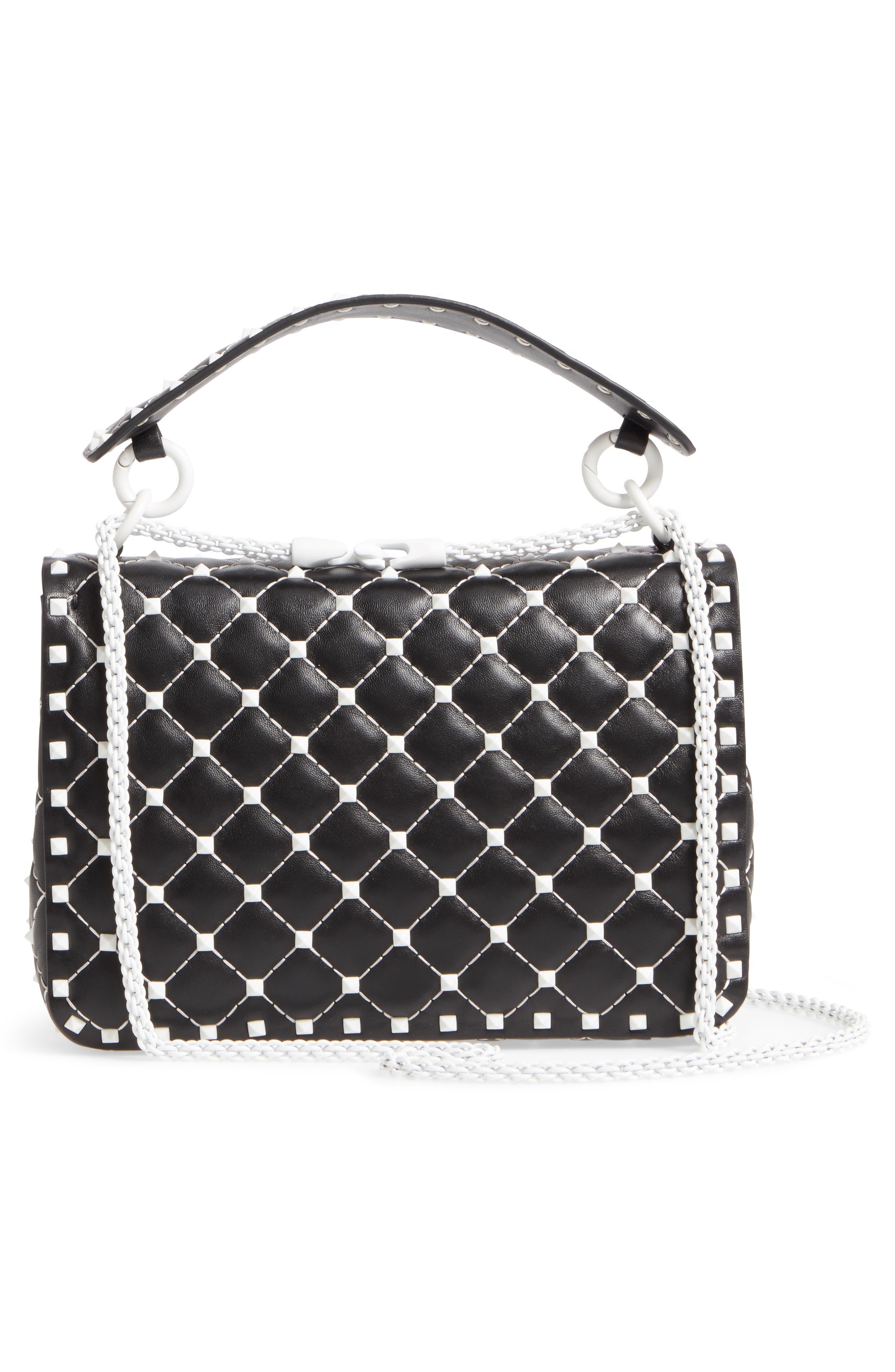Medium Rockstud Matelassé Leather Shoulder Bag,                             Alternate thumbnail 3, color,                             Black
