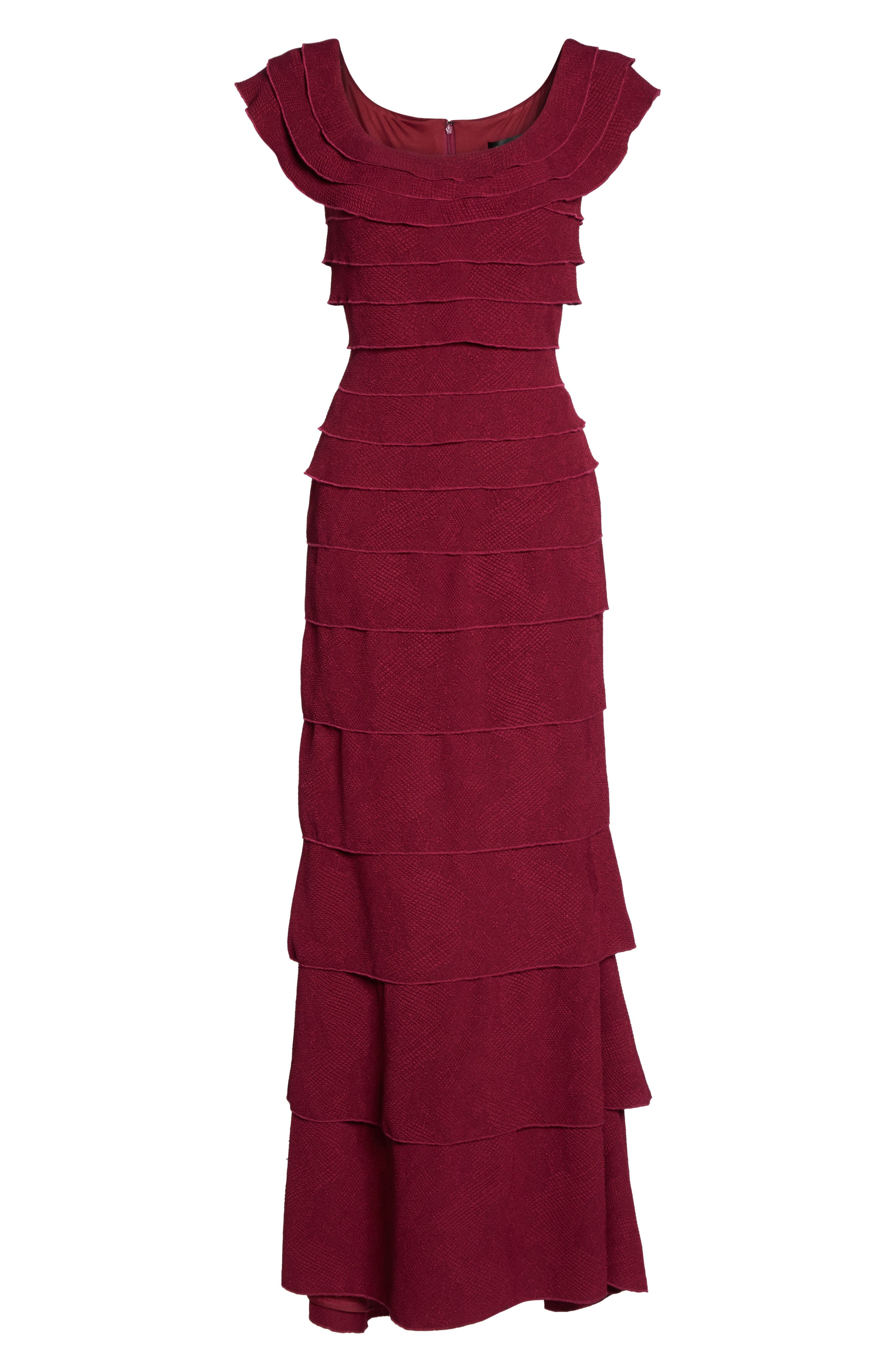 Tiered Crepe Gown,                             Alternate thumbnail 6, color,                             Wine