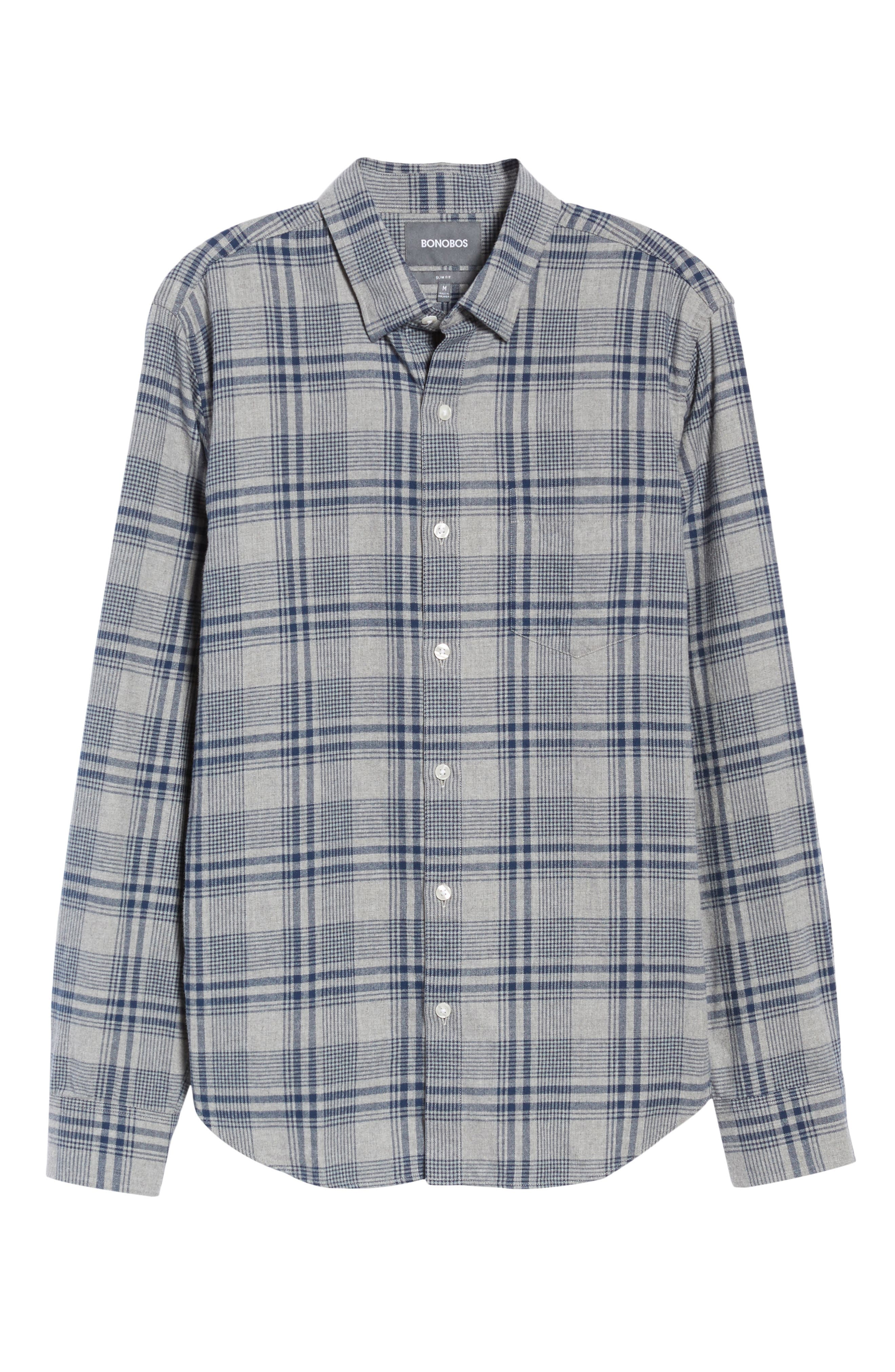 Slim Fit Brushed Plaid Sport Shirt,                             Alternate thumbnail 6, color,                             Rivercrest Plaid Navy