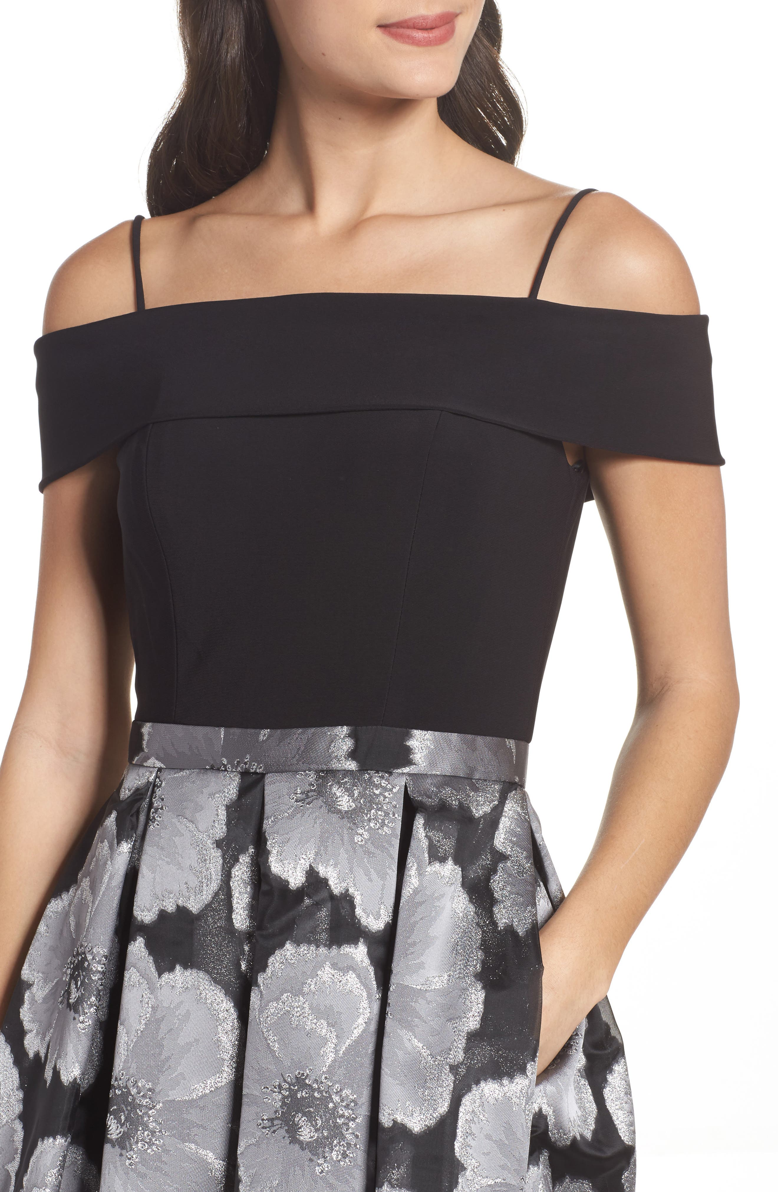 Mixed Media Off the Shoulder Dress,                             Alternate thumbnail 4, color,                             Black/ Silver