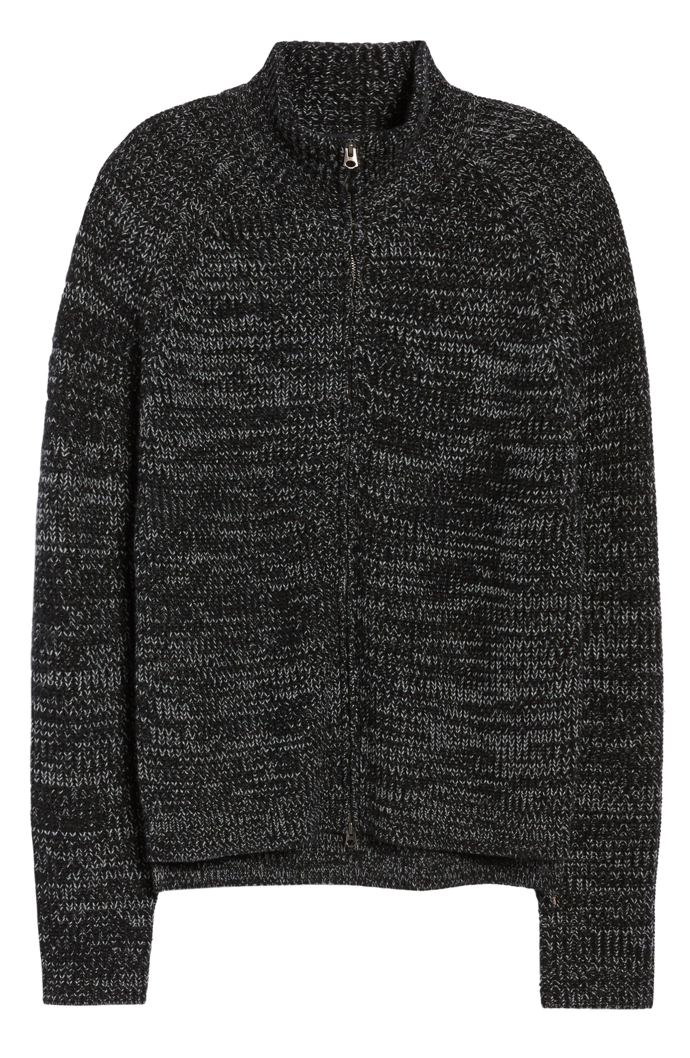Zip Wool Blend Cardigan,                             Alternate thumbnail 6, color,                             Black