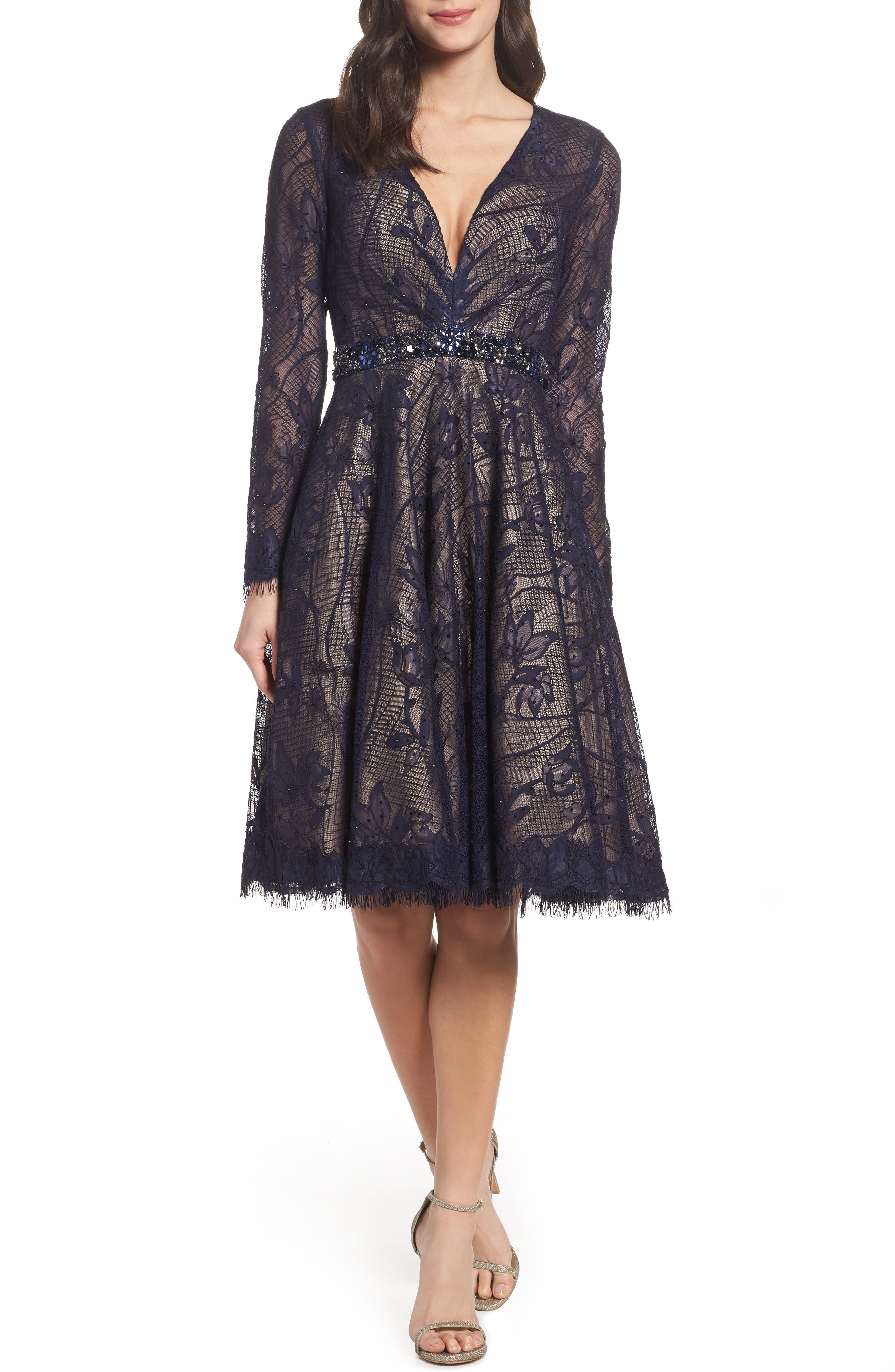 Main Image - Mac Duggal Open Back Lace A-Line Dress