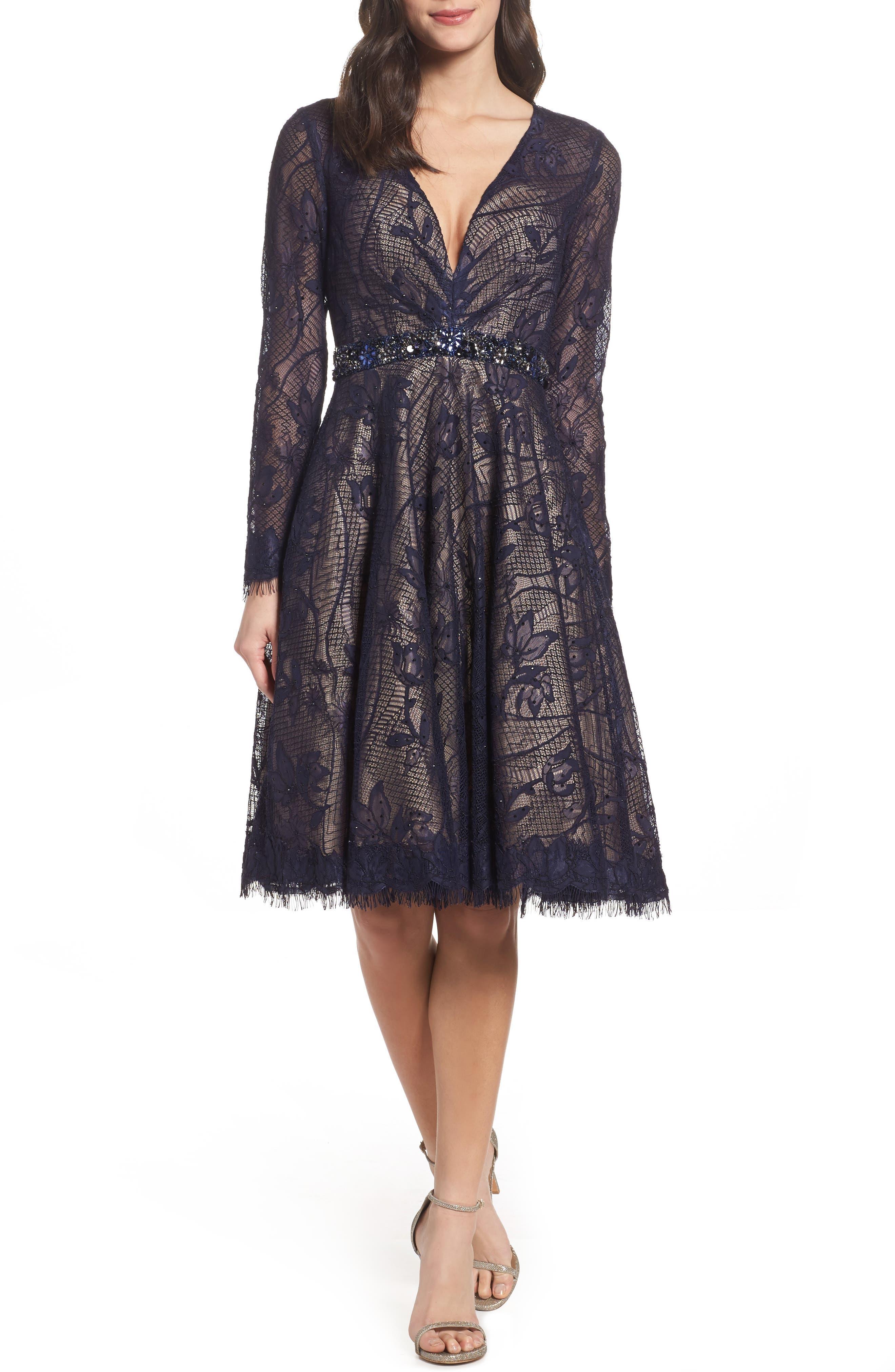 Open Back Lace A-Line Dress,                         Main,                         color, Navy