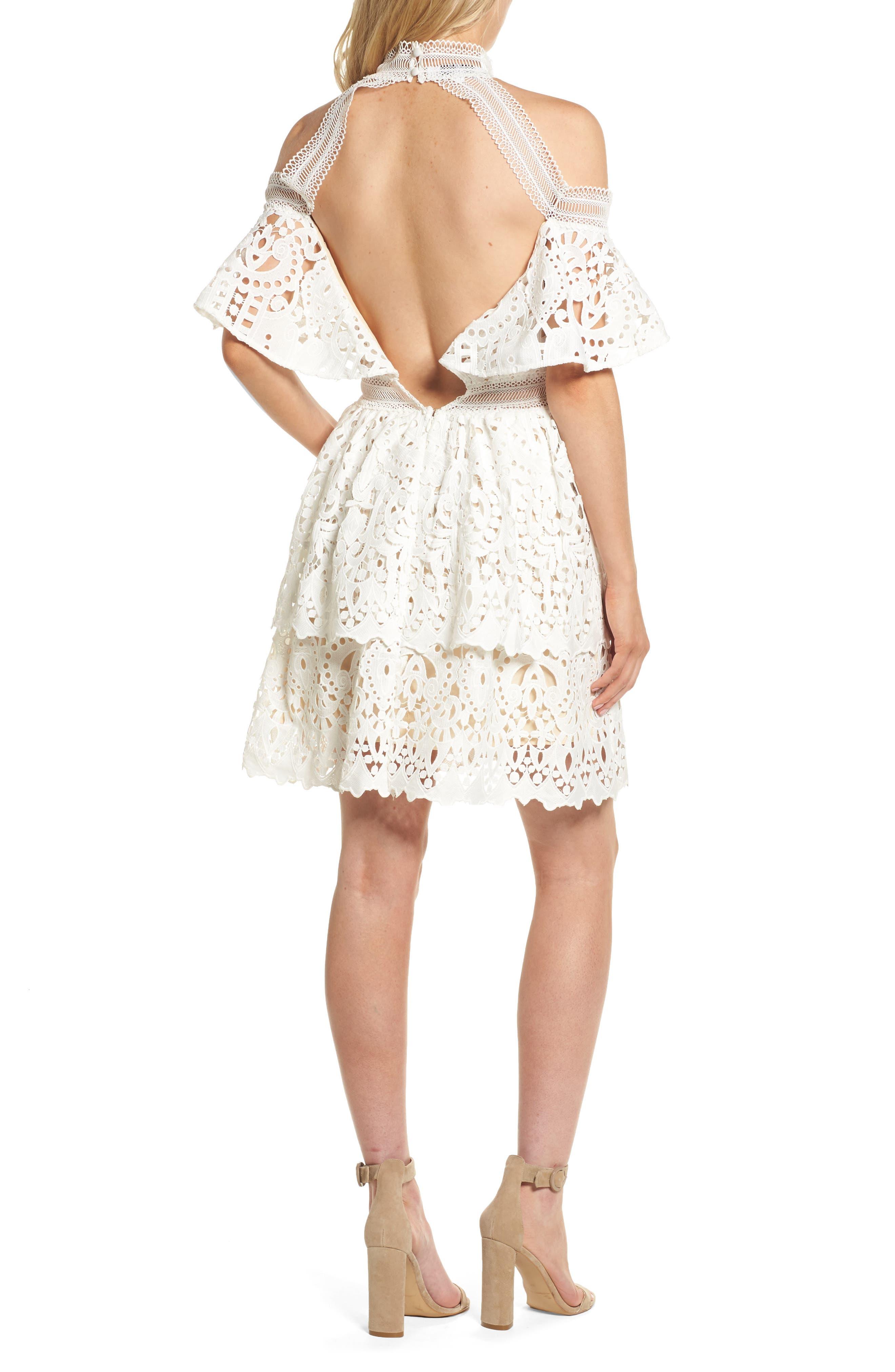 Saint Cloud Cold Shoulder Ruffle Dress,                             Alternate thumbnail 2, color,                             White