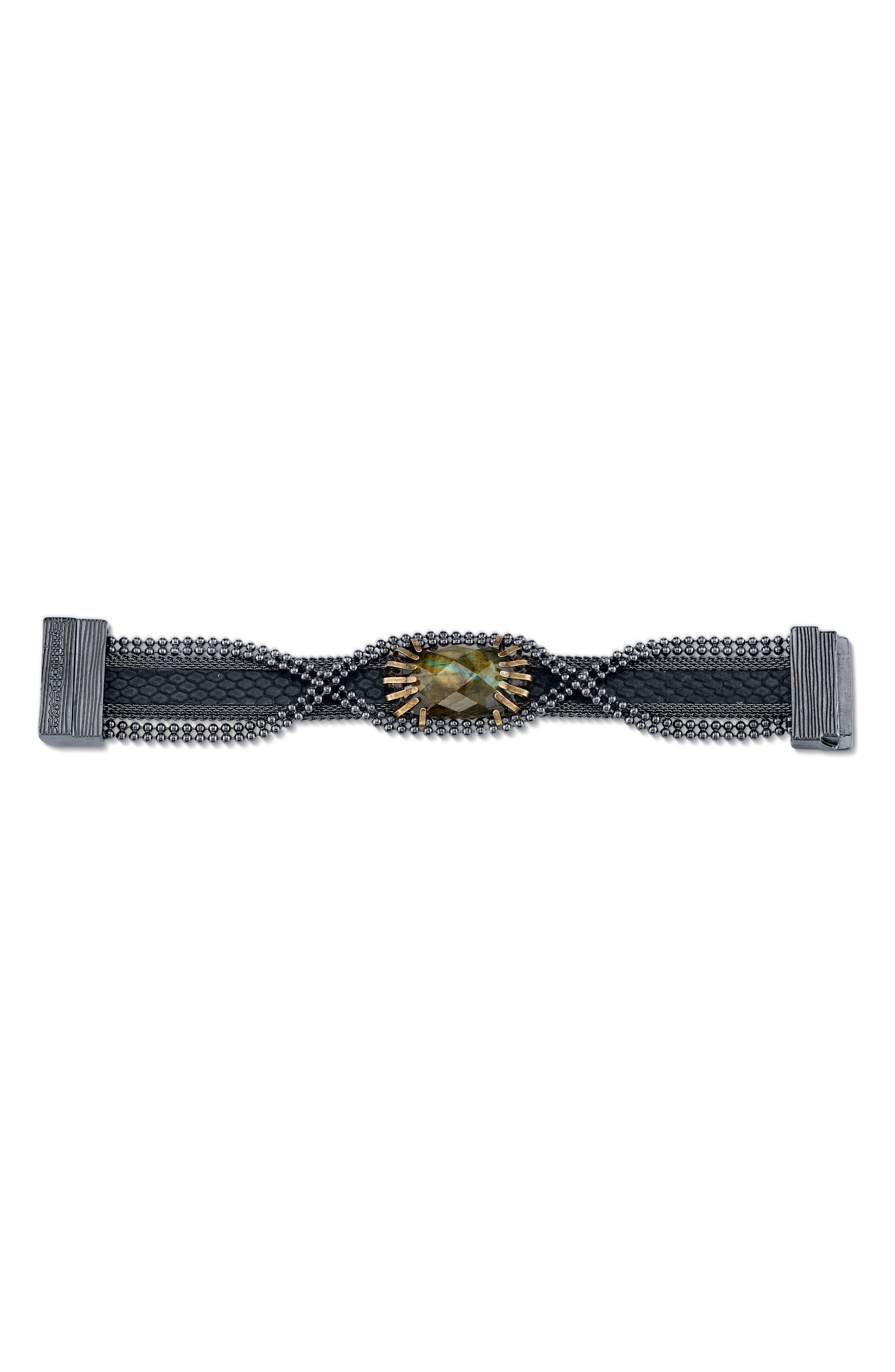 Stone & Snakeskin Bracelet,                             Alternate thumbnail 2, color,                             Black/ Bronze/ Gunmetal