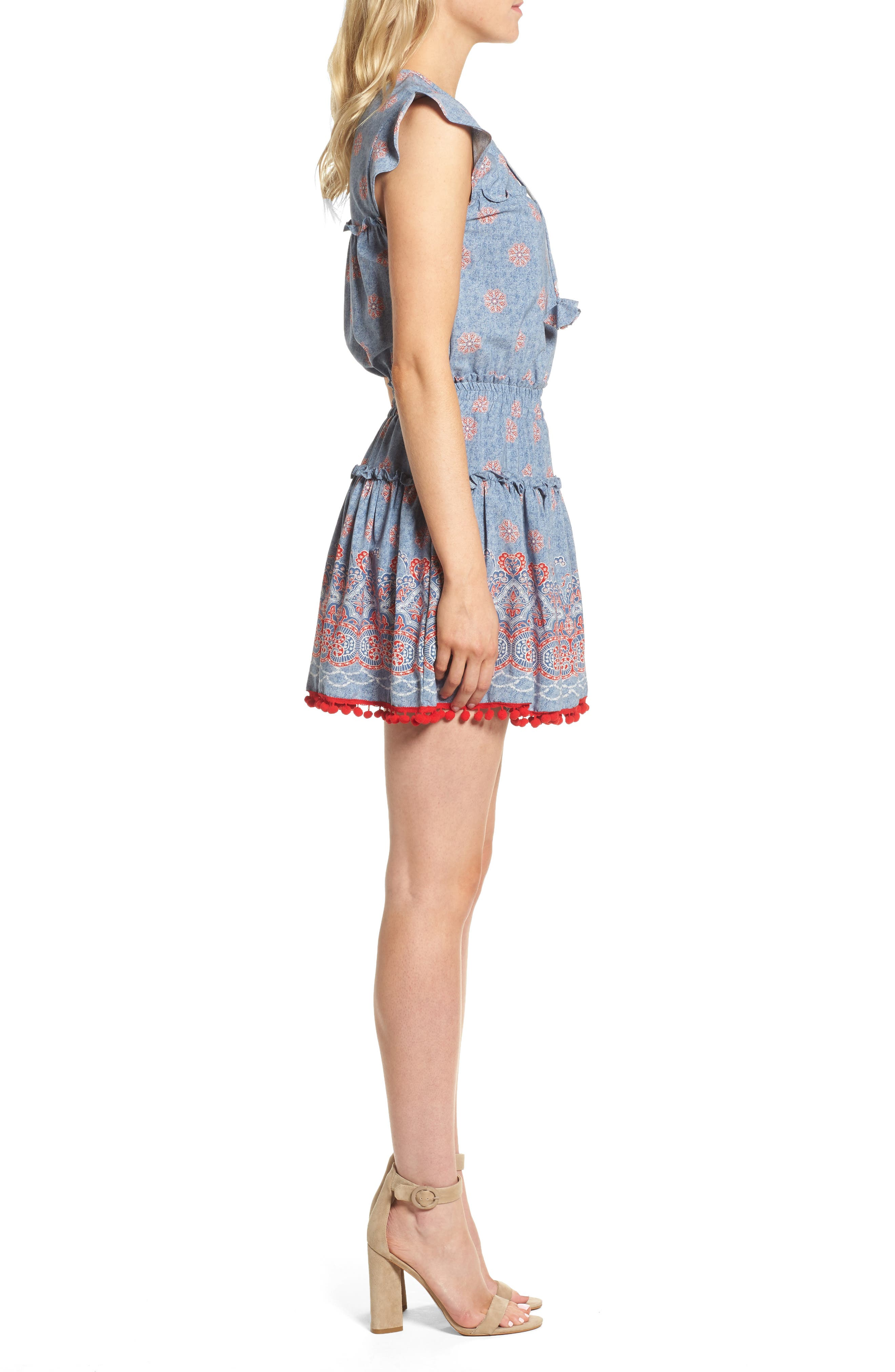 Tatiana Minidress,                             Alternate thumbnail 3, color,                             Blue/ Red Multi
