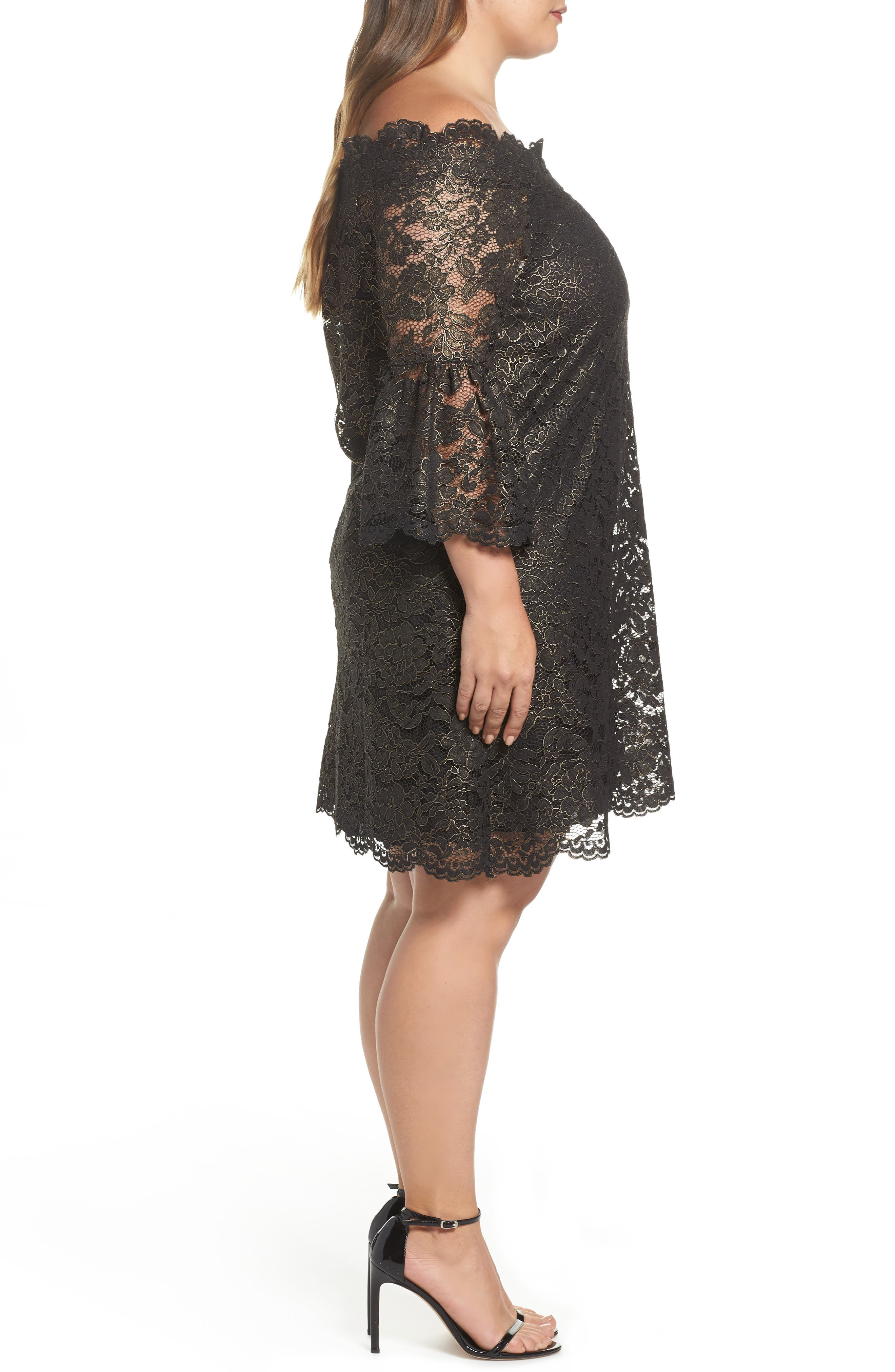 Alternate Image 3  - ELVI Off the Shoulder Black Gold Lace Dress (Plus Size)