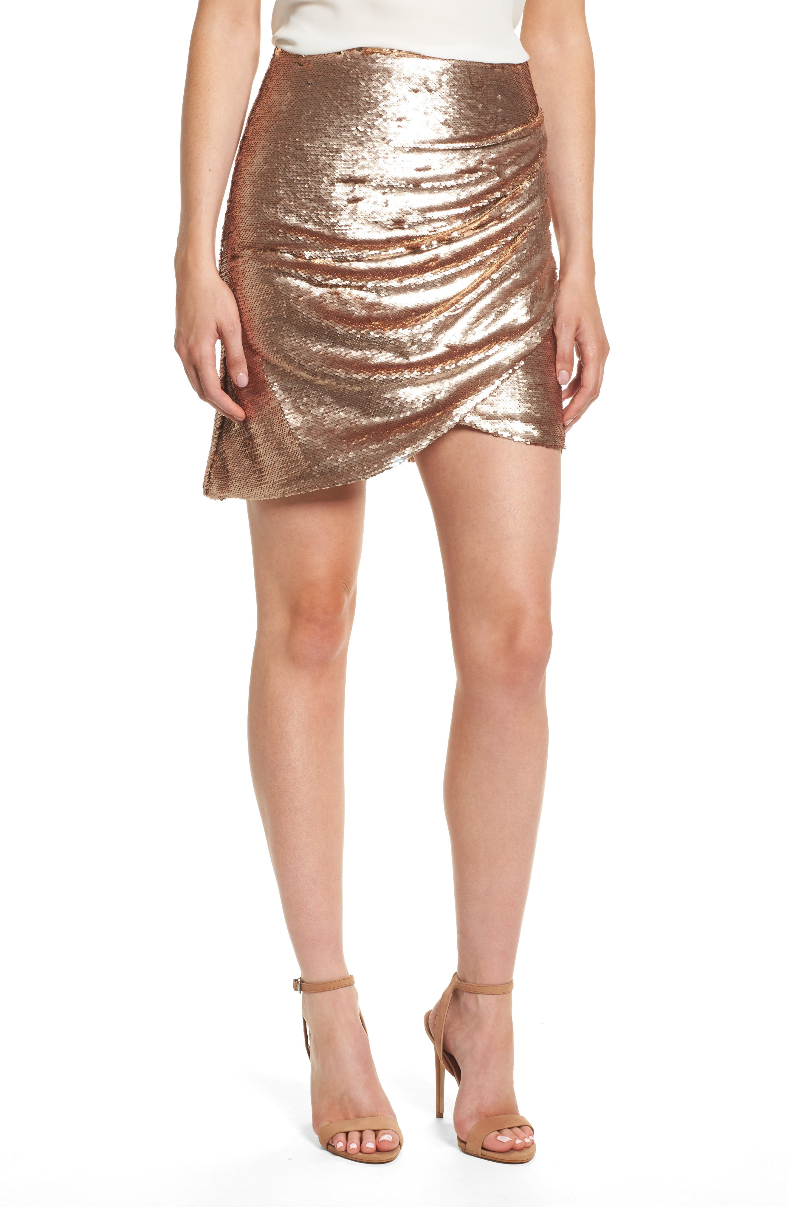 Tresor Sequin Miniskirt,                             Main thumbnail 1, color,                             Champagne Blush