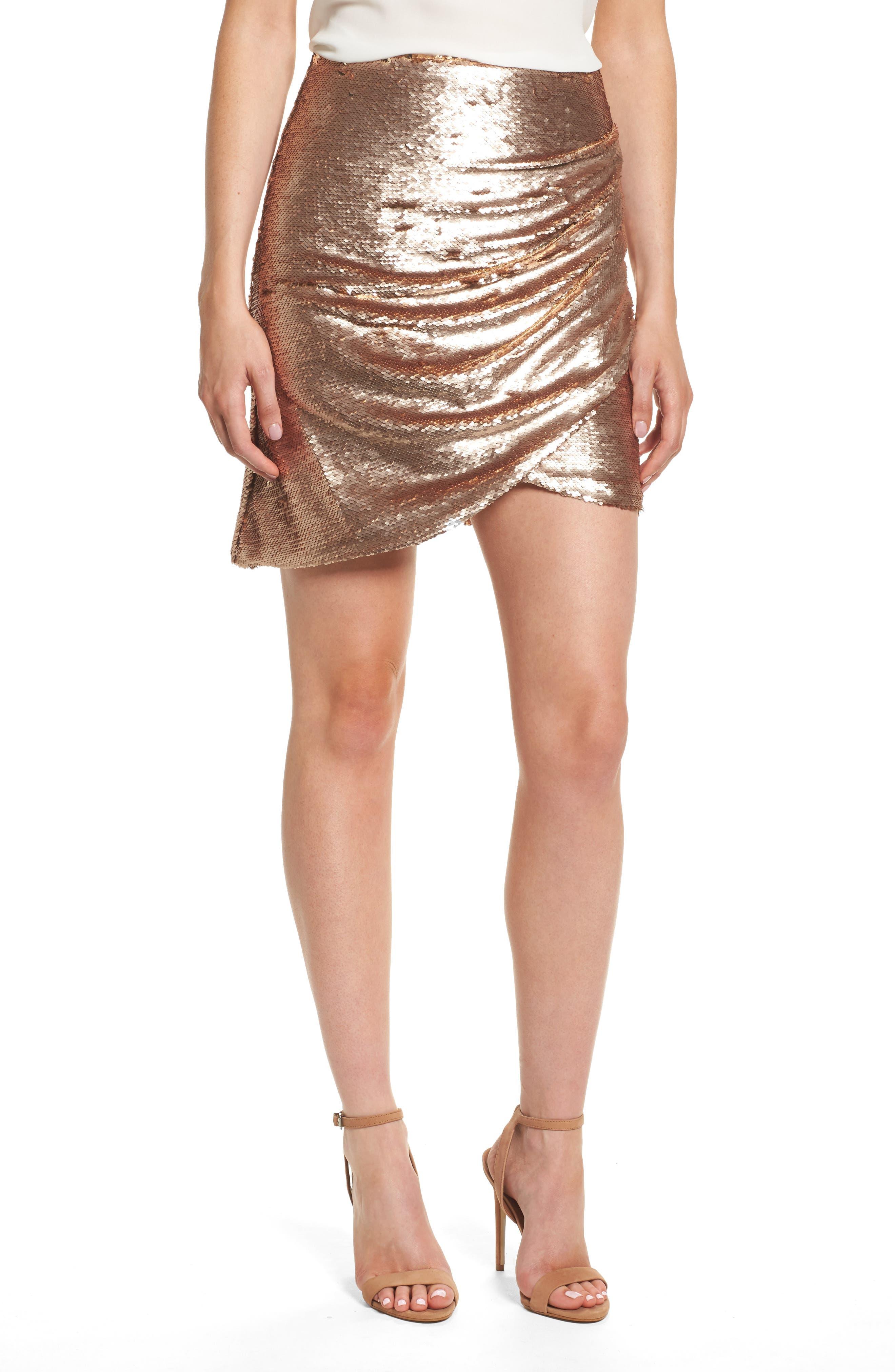 Tresor Sequin Miniskirt,                         Main,                         color, Champagne Blush