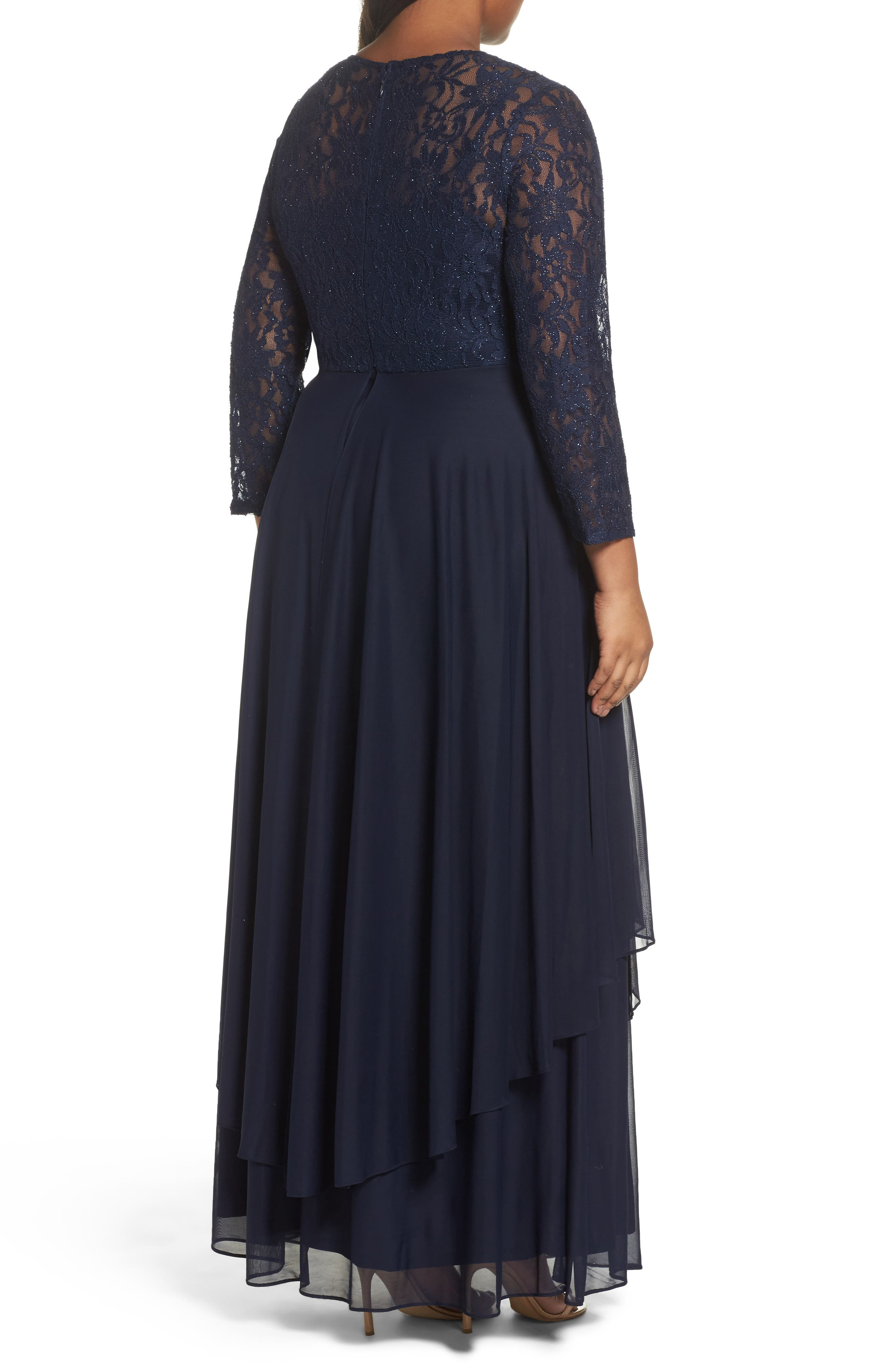 Alternate Image 2  - Decode 1.8 Lace & Mesh Gown (Plus Size)