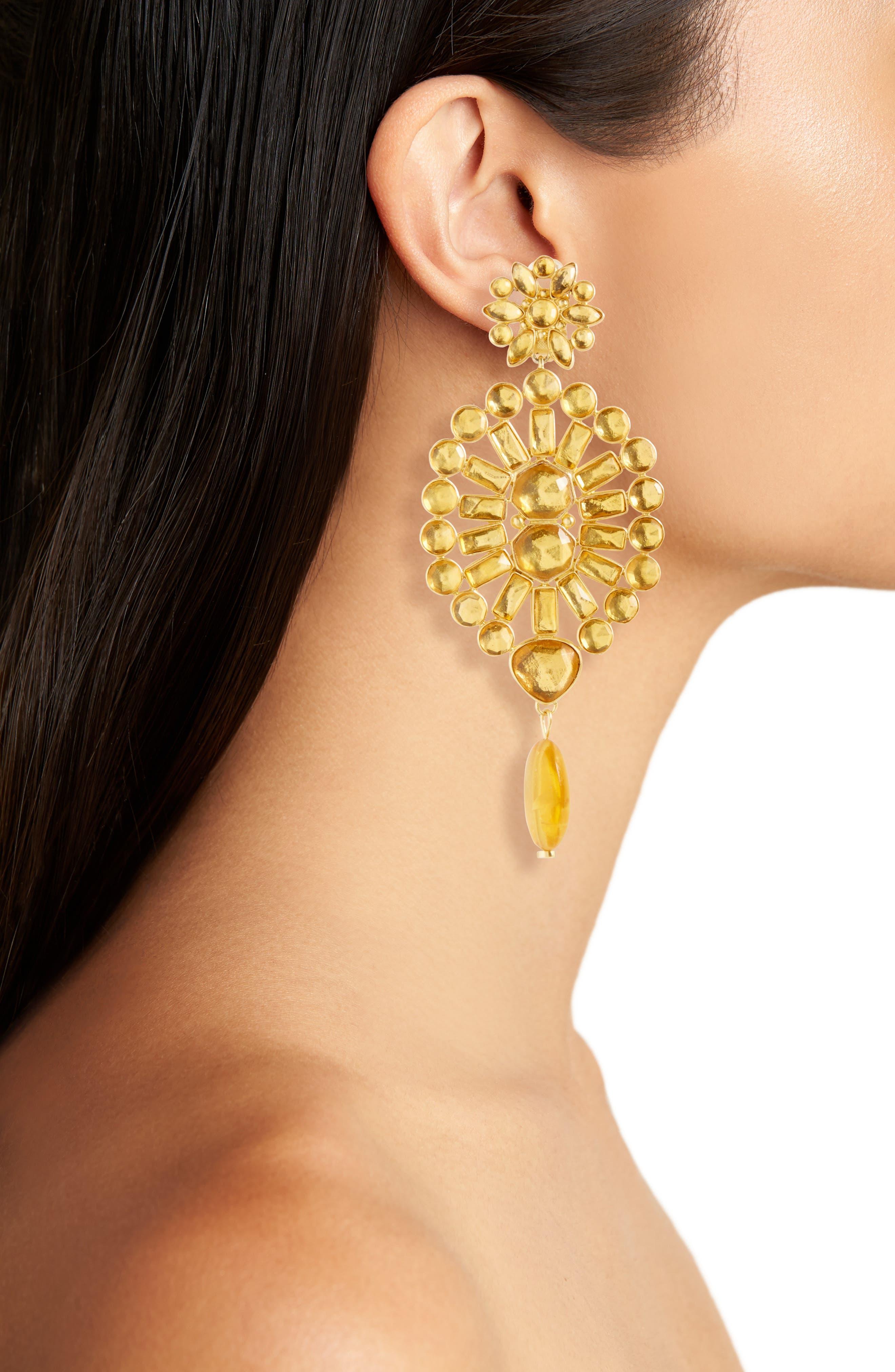 Alternate Image 2  - Tory Burch Embellished Chandelier Clip Earrings