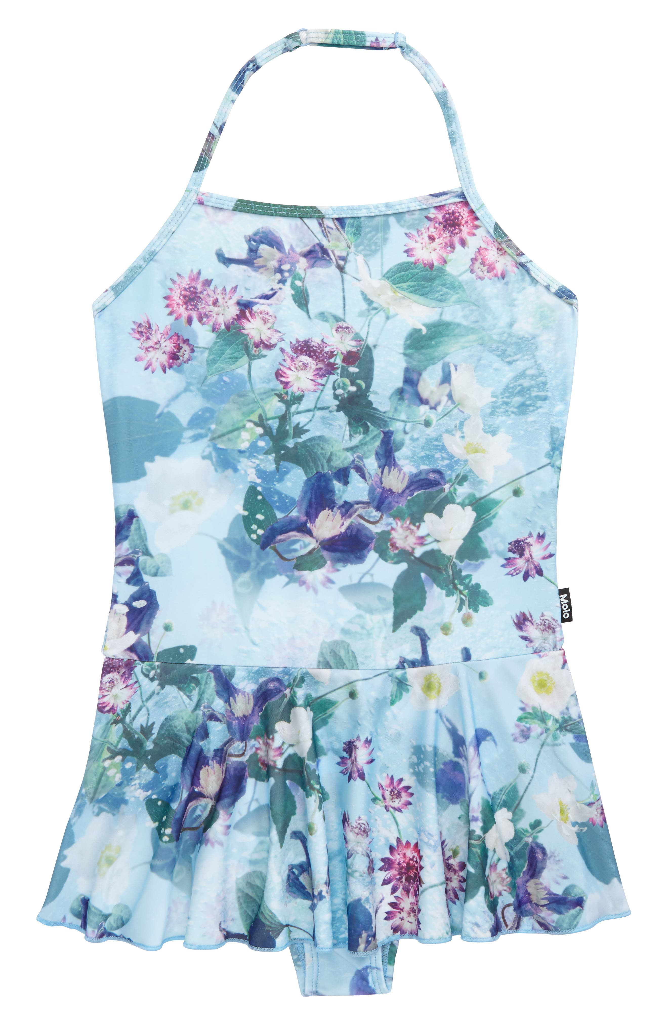 Noelle Skirted One-Piece Swimsuit,                         Main,                         color, Aqua Flowers