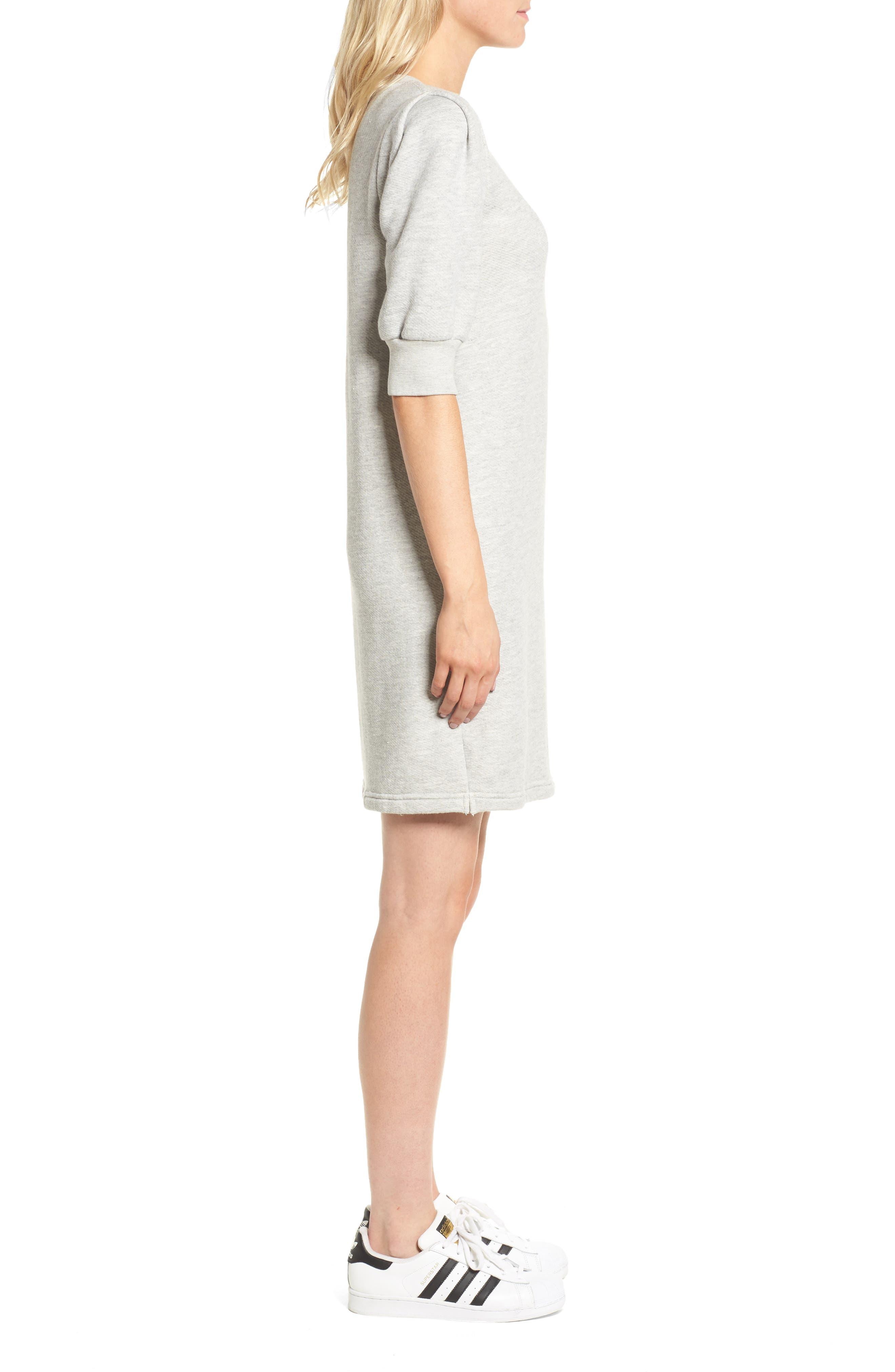 The Pleat Sweatshirt Dress,                             Alternate thumbnail 3, color,                             Light Heather Grey Terry