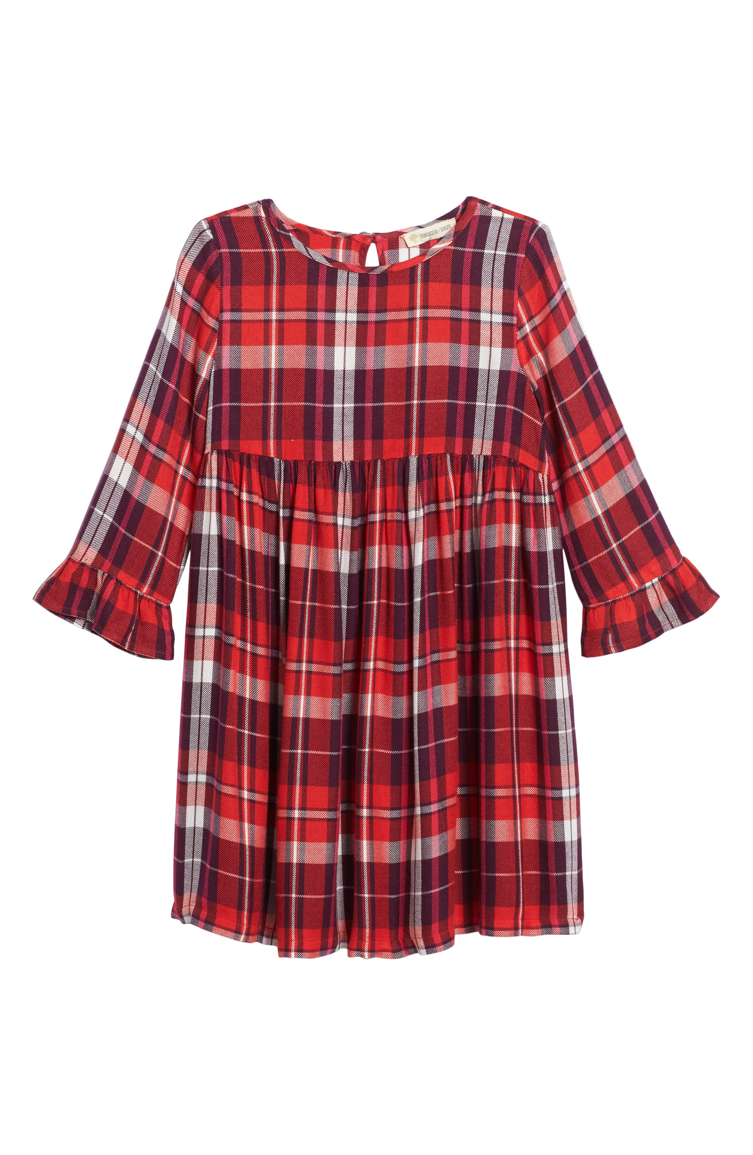 Plaid Flutter Sleeve Dress,                         Main,                         color, Red Bittersweet Winter Plaid