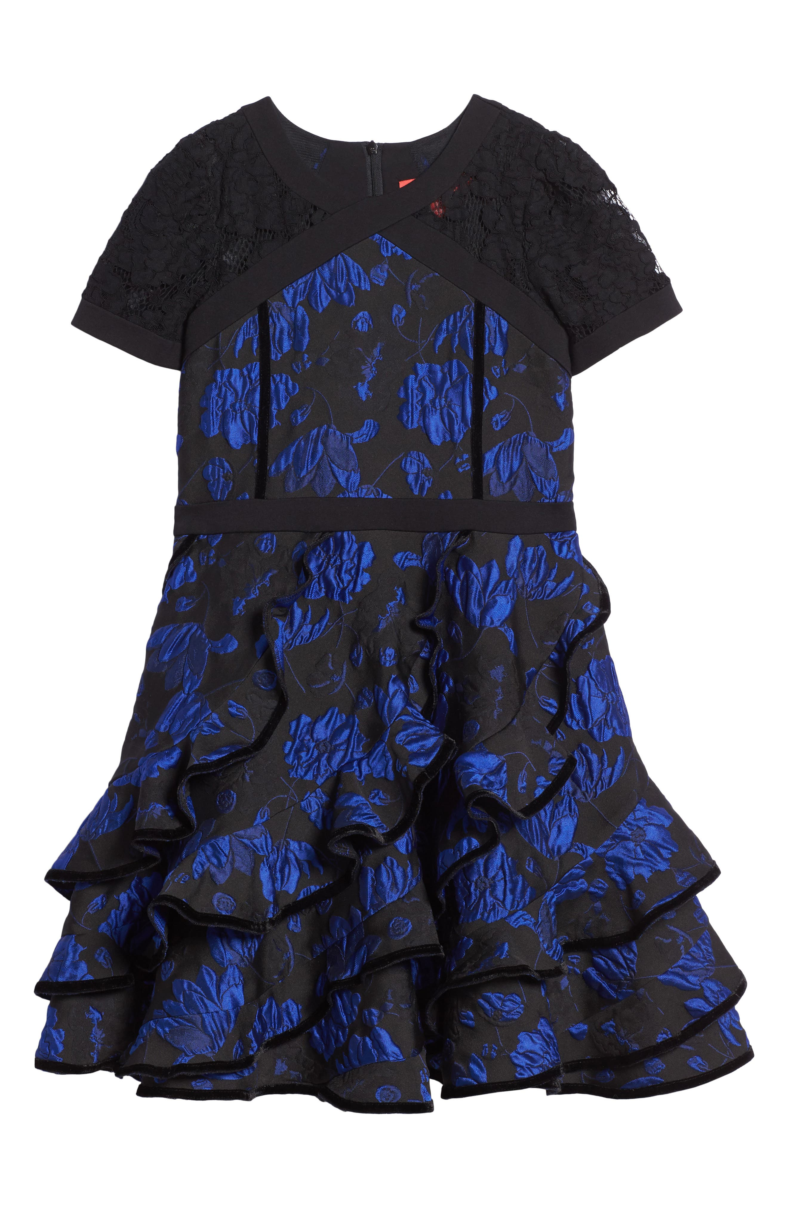Brocade Ruffle Dress,                         Main,                         color, Royal/ Black