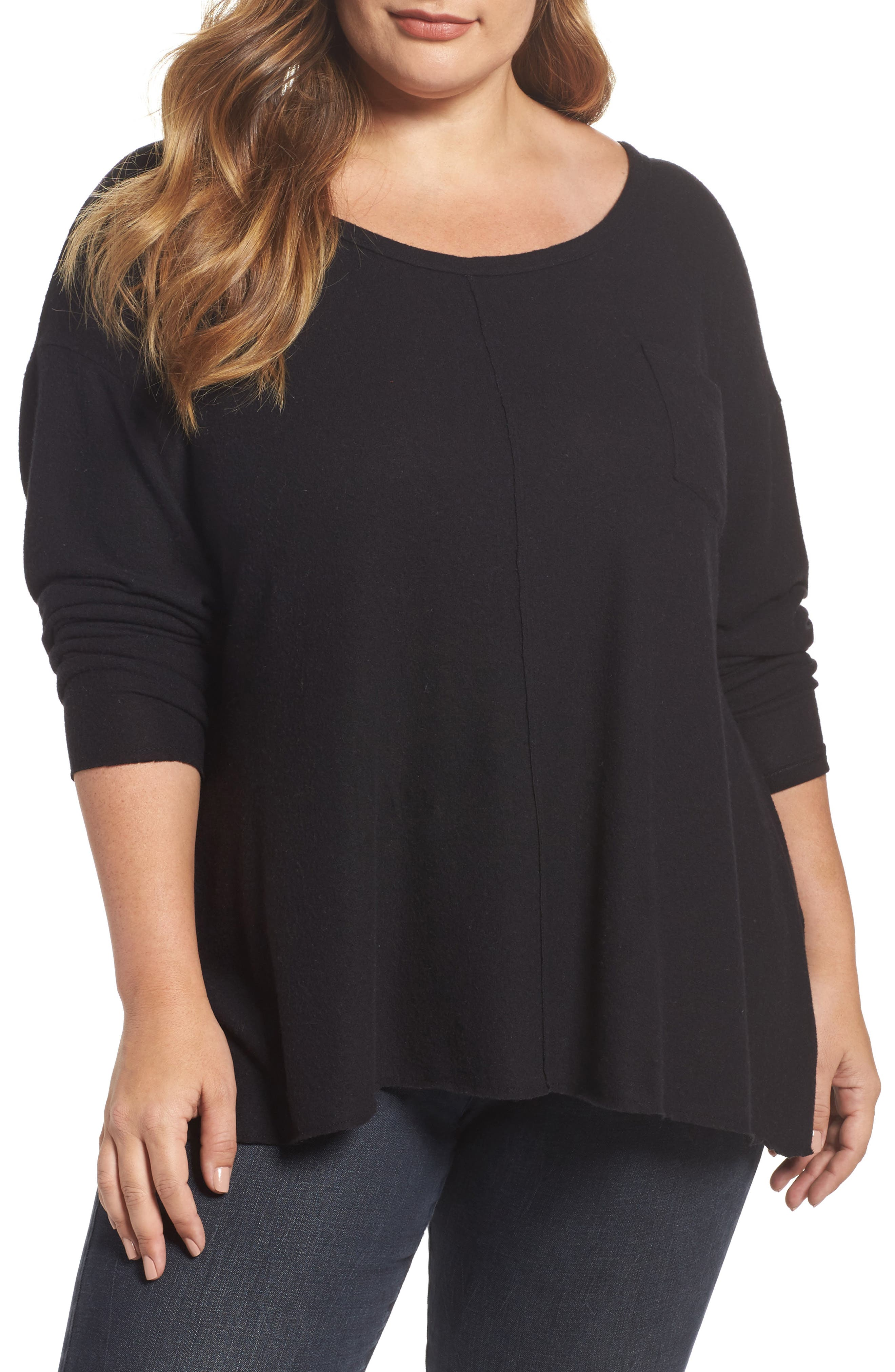 Drop Shoulder Pocket Top,                         Main,                         color, Black