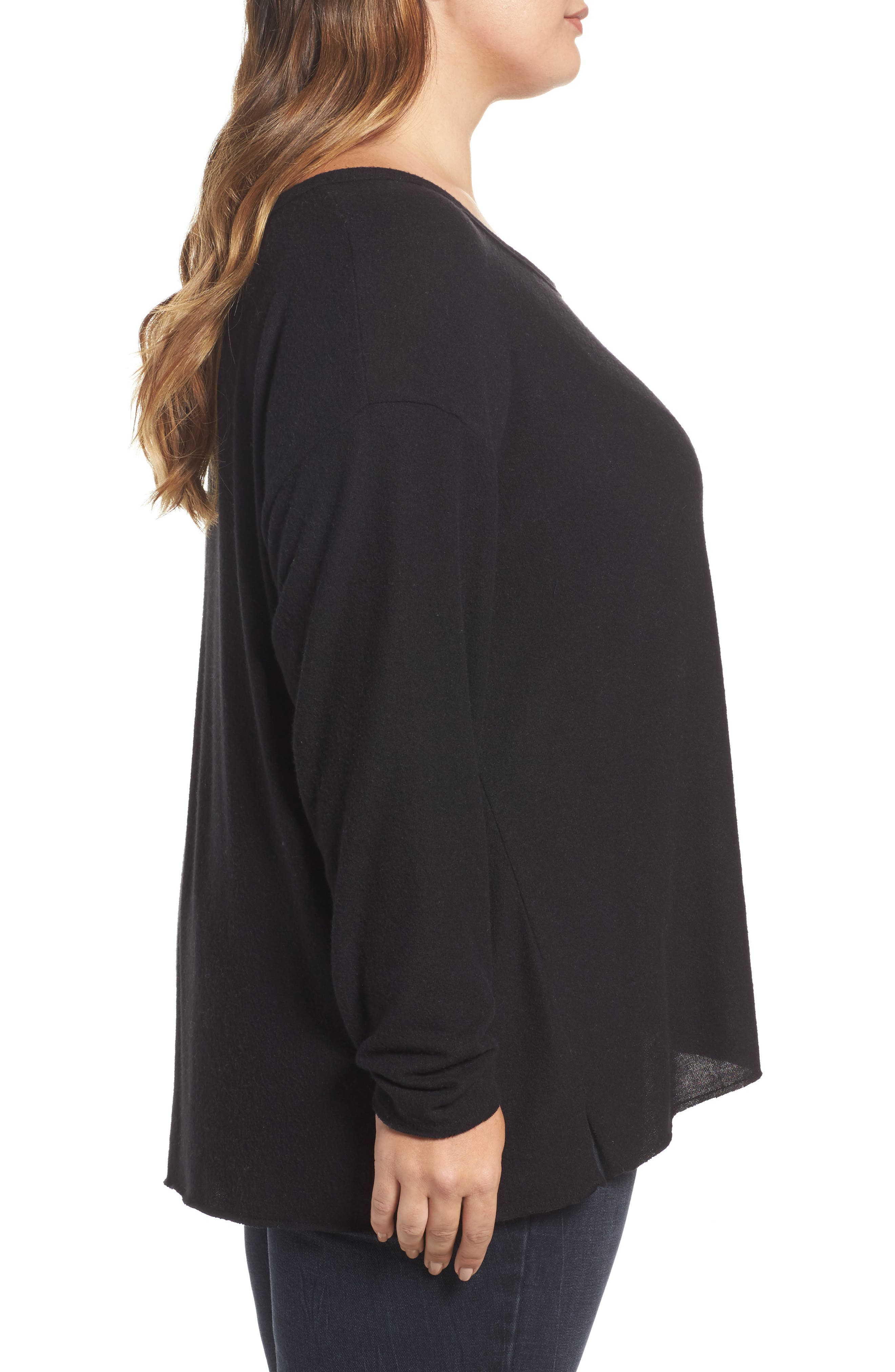 Drop Shoulder Pocket Top,                             Alternate thumbnail 3, color,                             Black