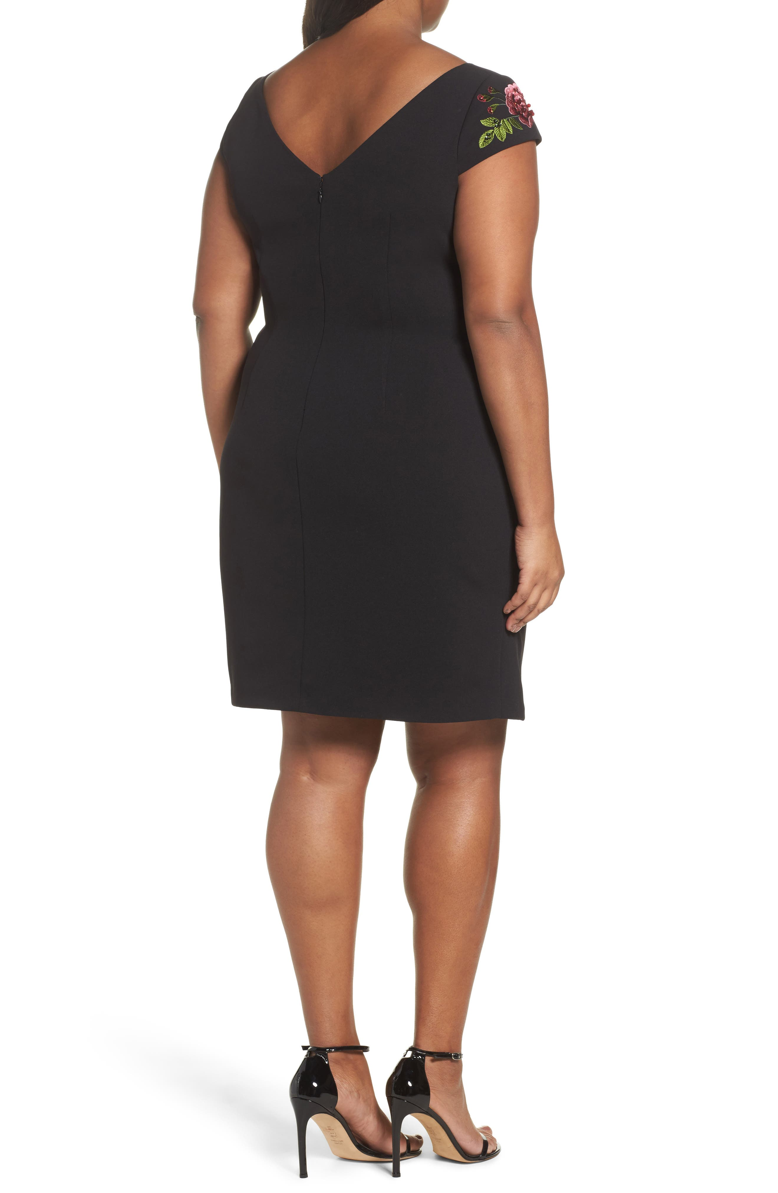 Alternate Image 2  - Adrianna Papell Flower Embroidered Crepe Sheath Dress (Plus Size)