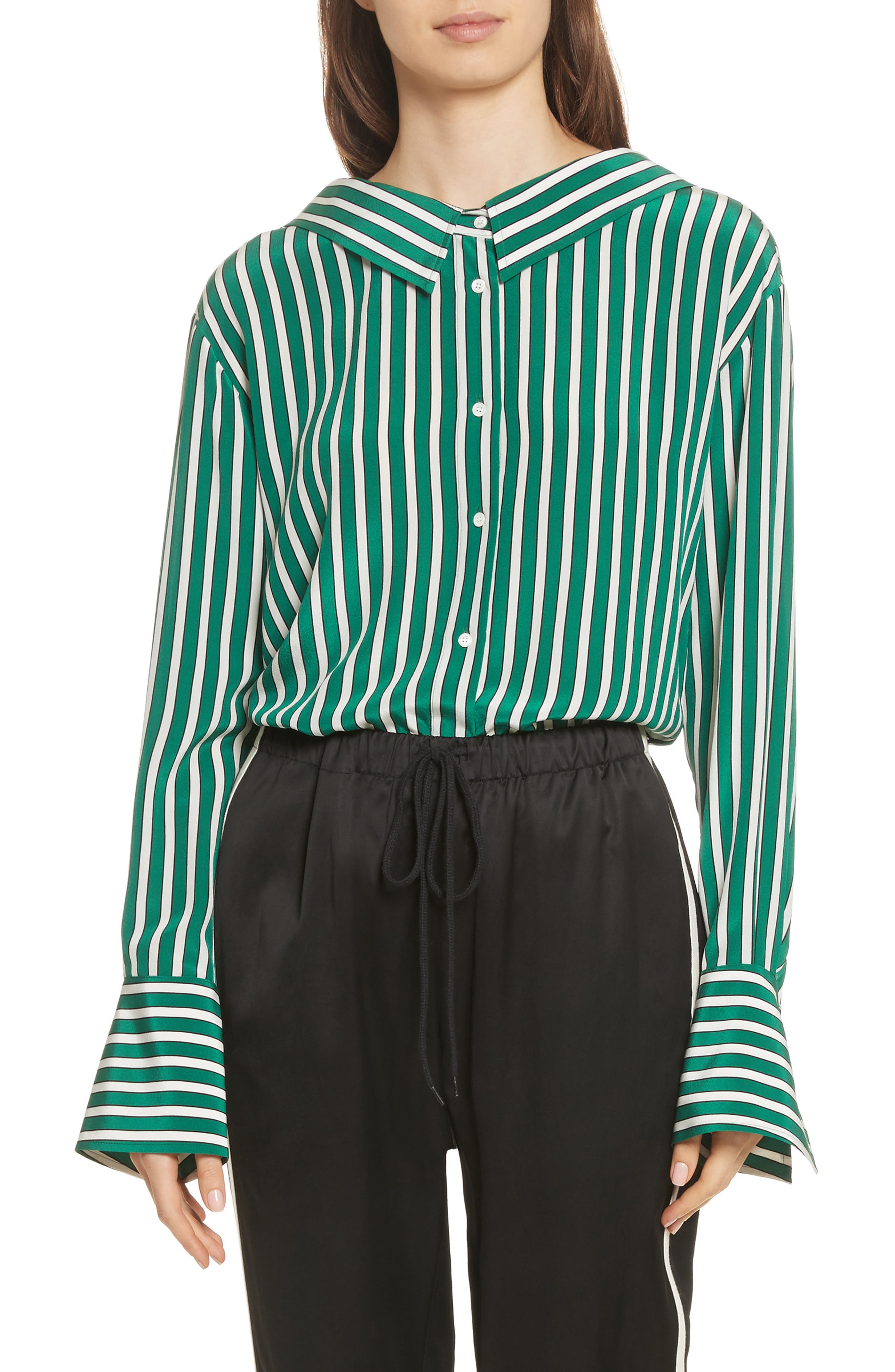 Main Image - Robert Rodriguez Large Stripe Gathered Back Silk Shirt