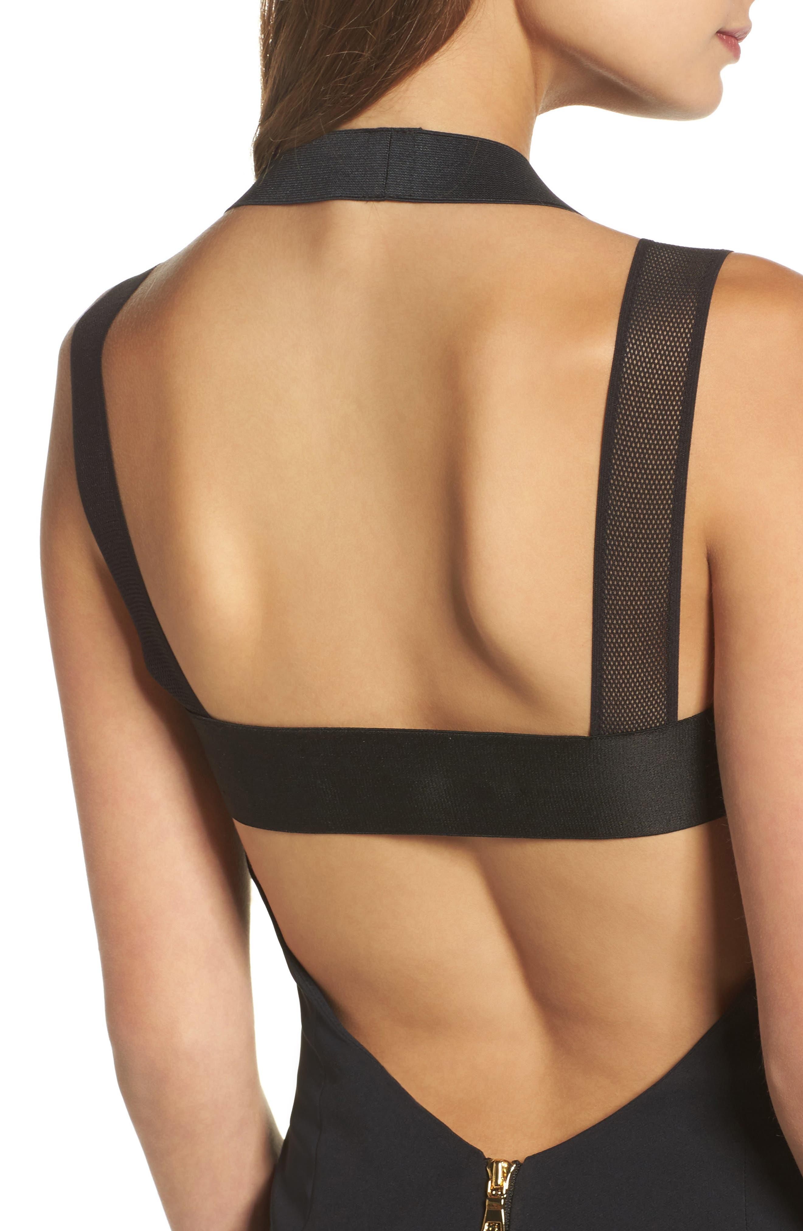Kendra Elastic Strap Low Back Sheath Dress,                             Alternate thumbnail 4, color,                             Black