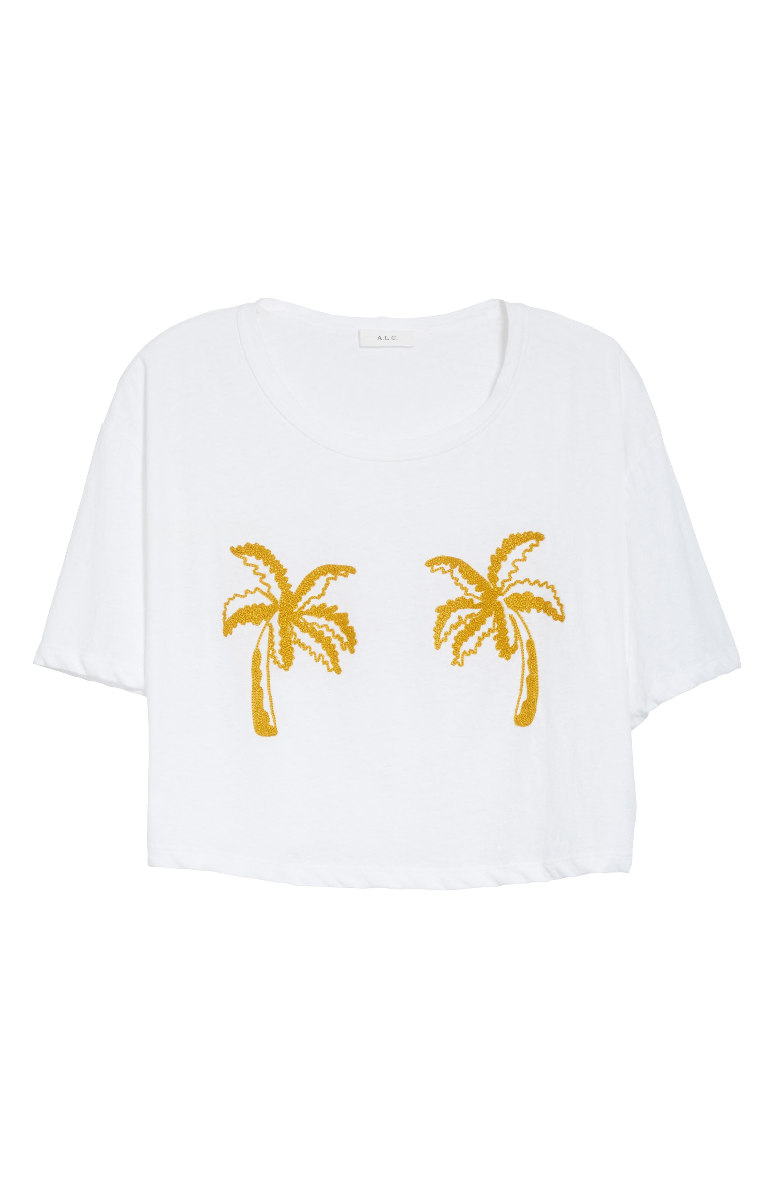 Teagan Palm Embroidered Crop Tee,                             Alternate thumbnail 6, color,                             White