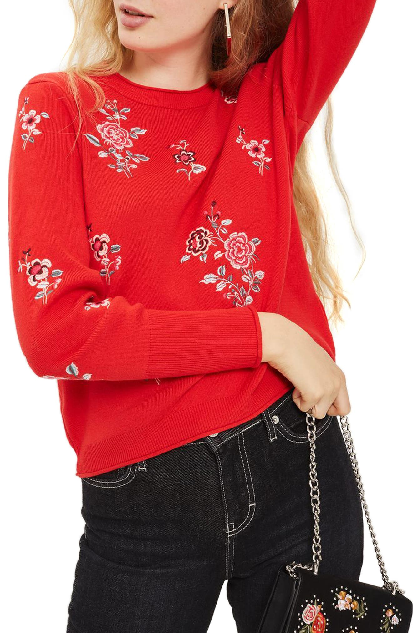 Topshop China Floral Embroidered Sweater