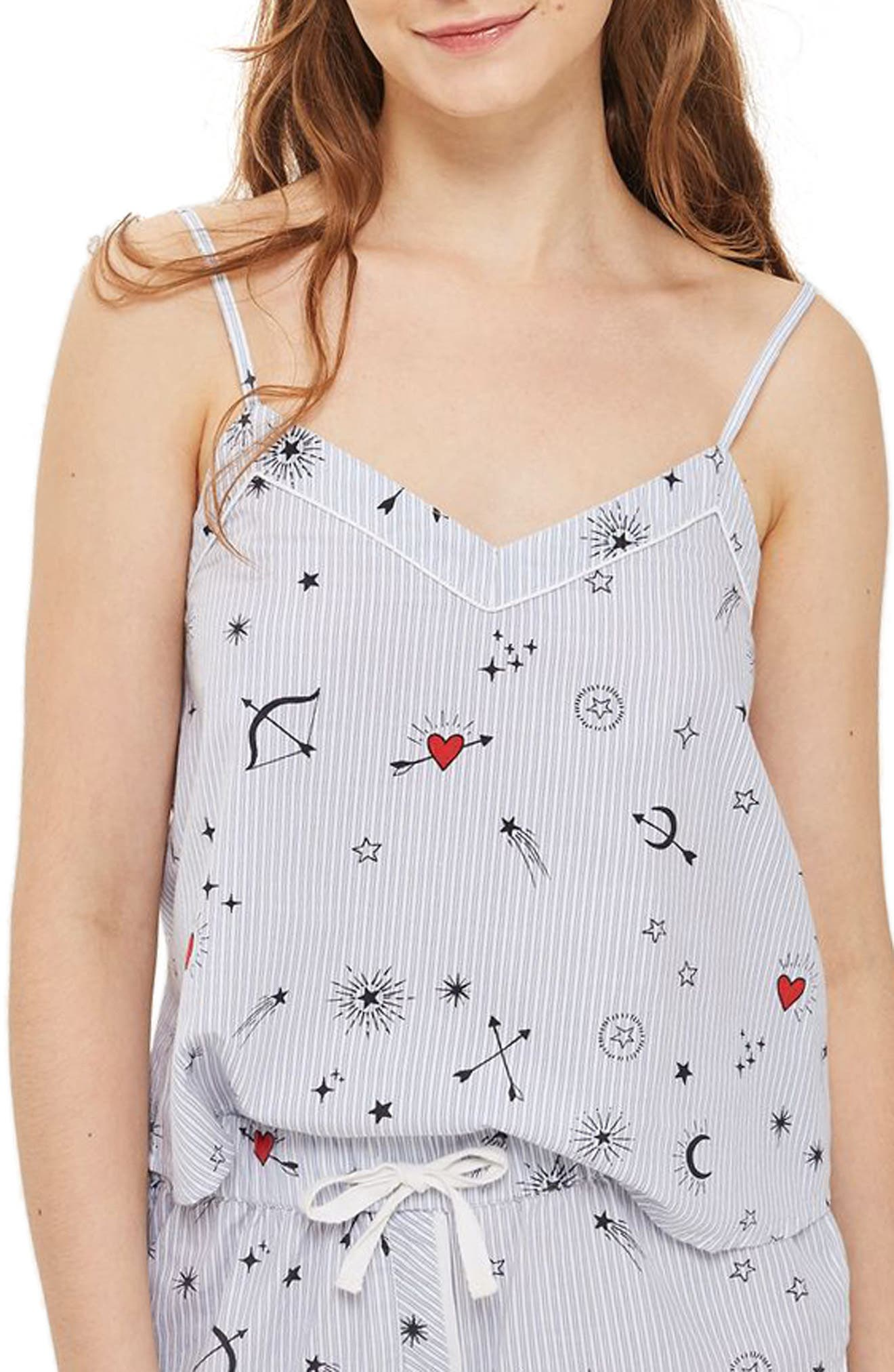 Topshop Heart Print Stripe Camisole Top