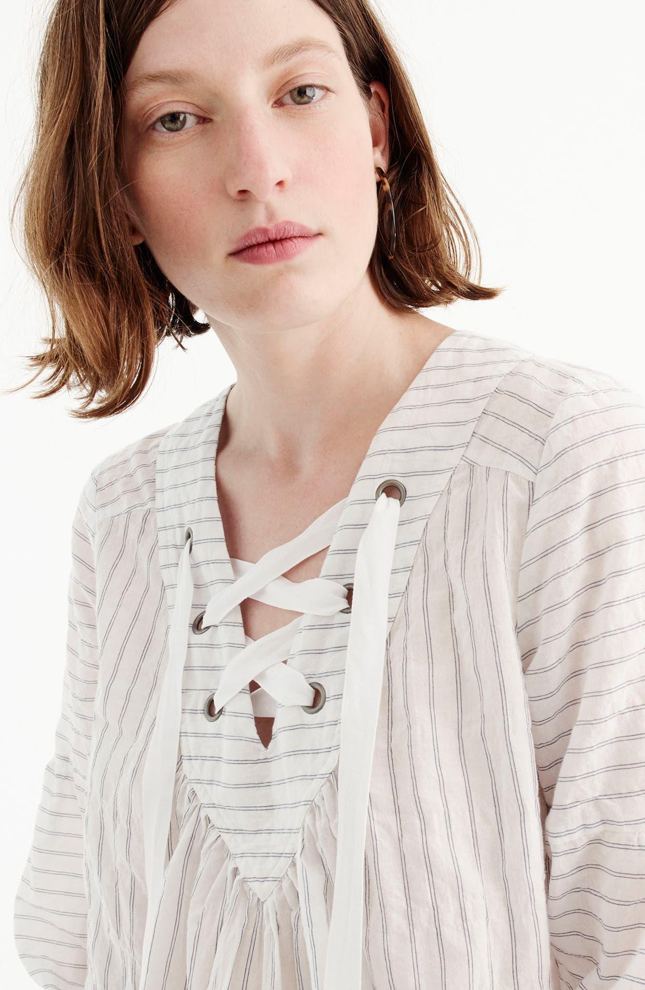 Lace-Up Stripe Cotton Top,                             Alternate thumbnail 2, color,                             White/ Blue