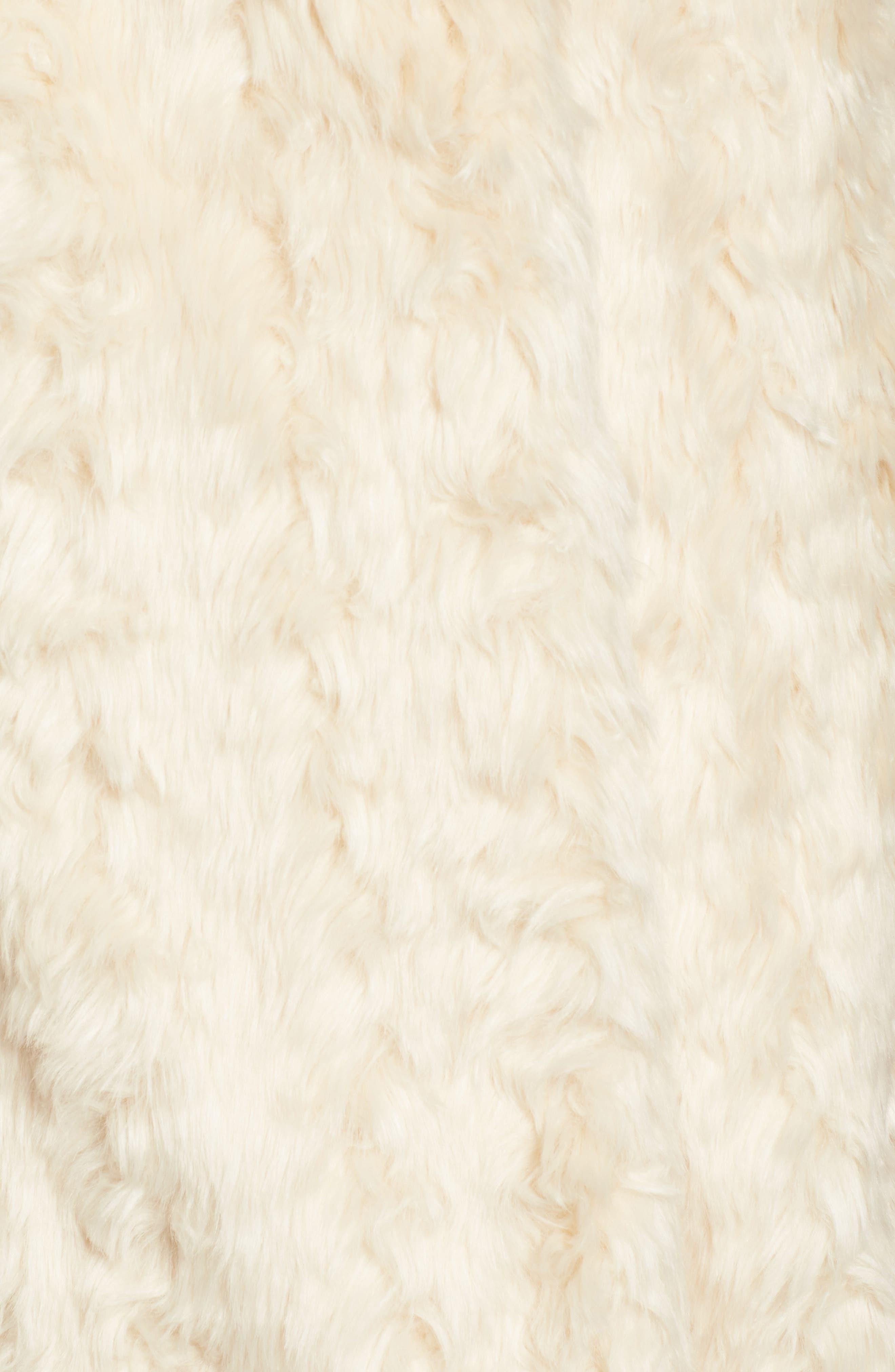Curly Faux Fur Coat,                             Alternate thumbnail 5, color,                             Ivory
