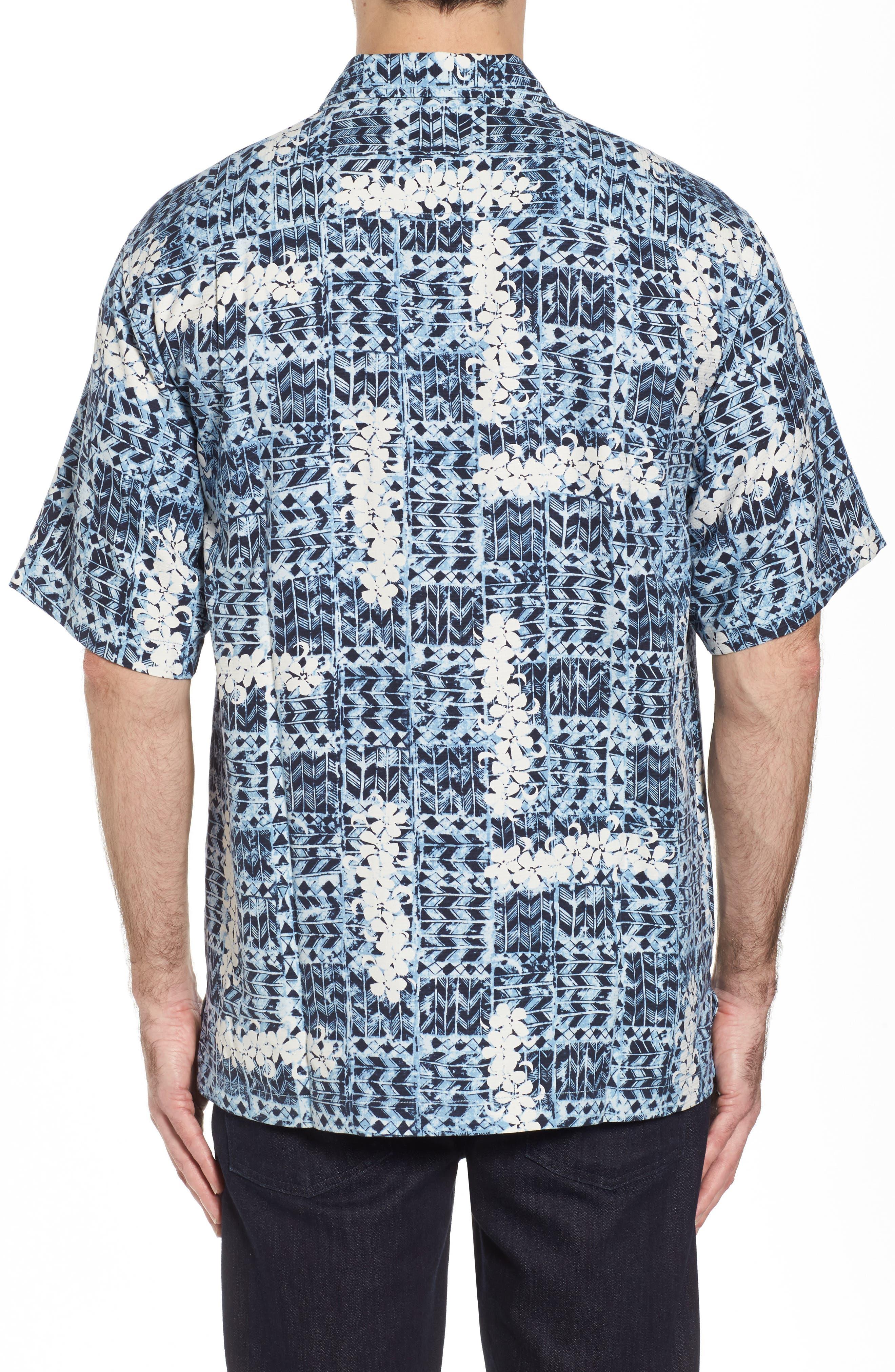 Olei Olei Silk Camp Shirt,                             Alternate thumbnail 2, color,                             Bering Blue