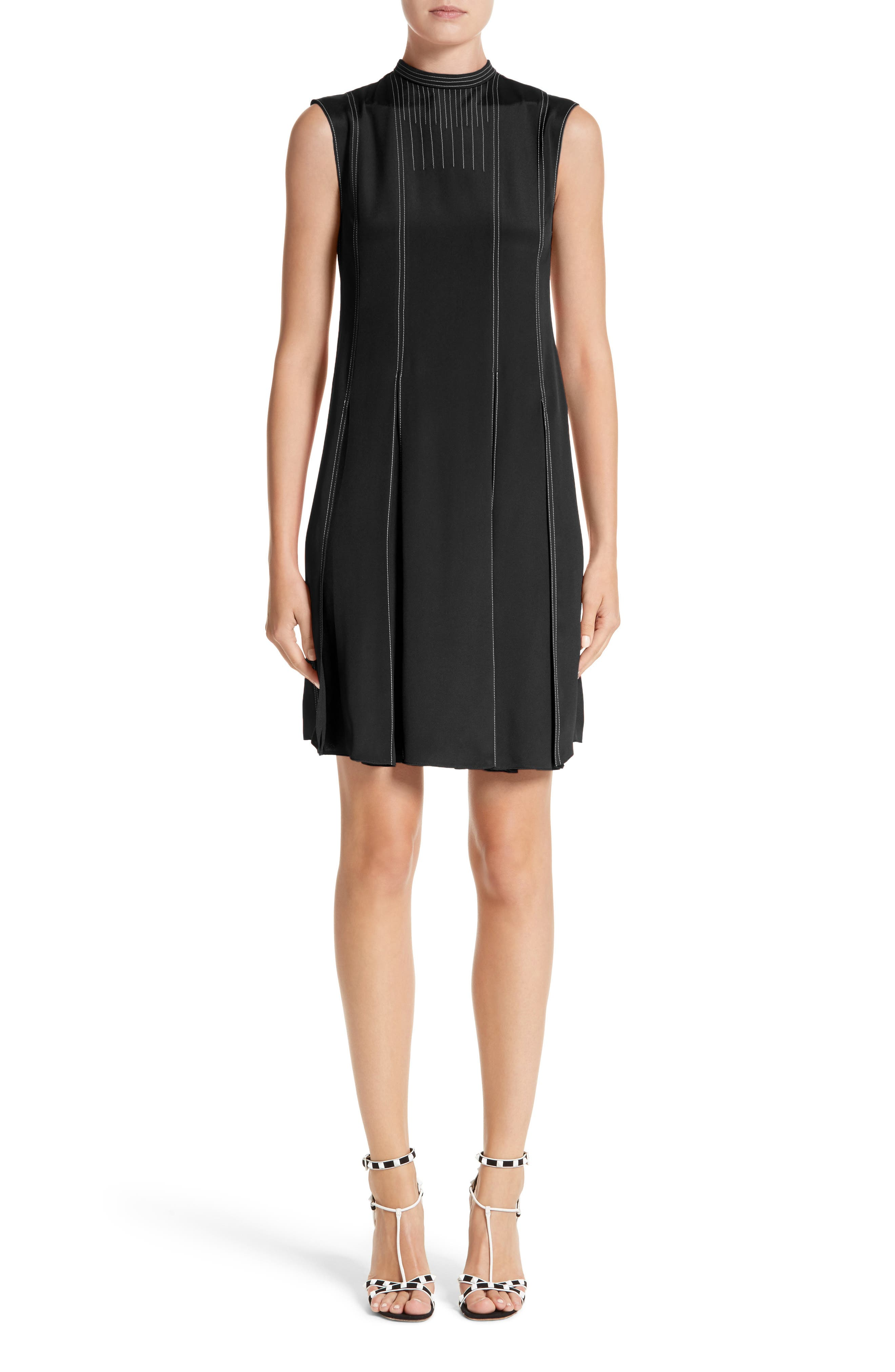 Valentino Contrast Stitch Silk Shift Dress