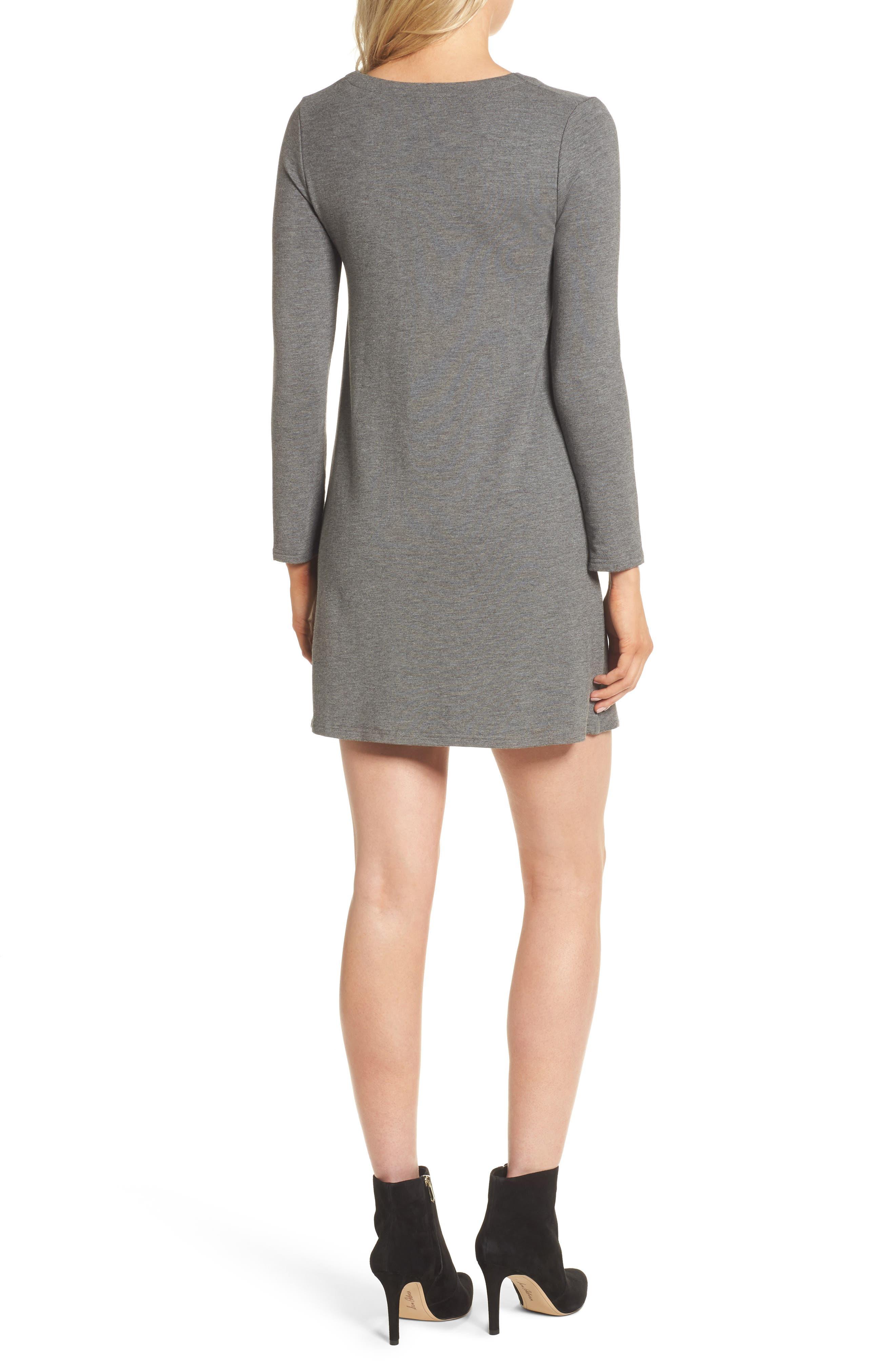 Celerina Lace-Up Minidress,                             Alternate thumbnail 2, color,                             Med Heather Grey