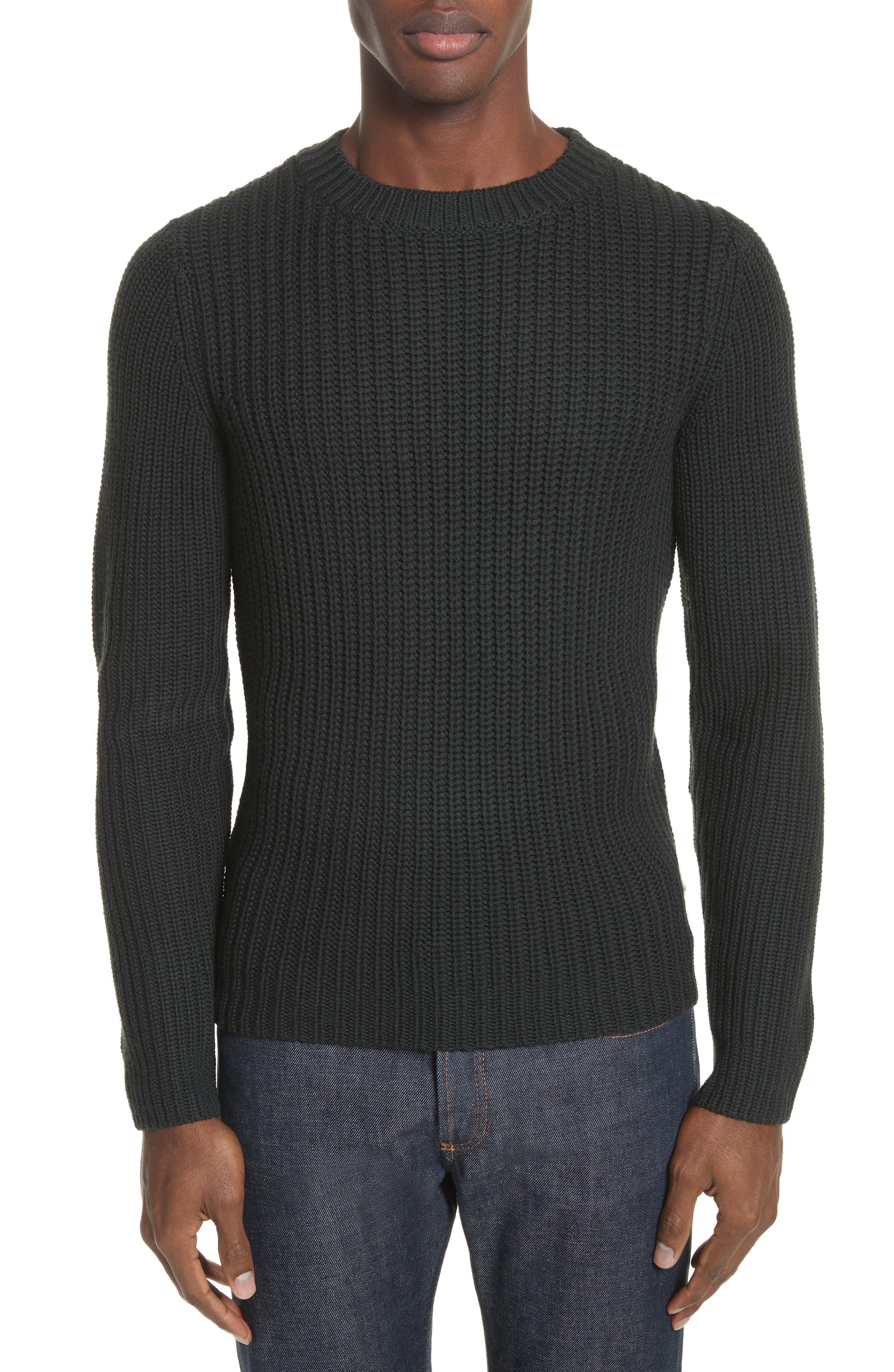 Pull Berger Merino Wool Sweater,                             Main thumbnail 1, color,                             Khaki Green